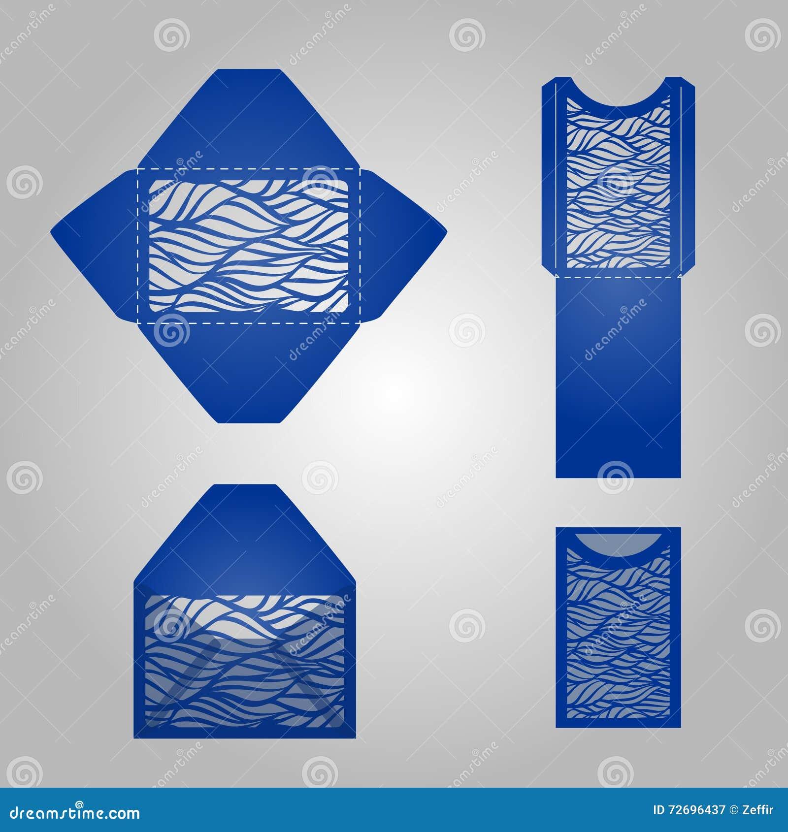Square Laser Cut Envelope Template Stock Illustration - Illustration ...