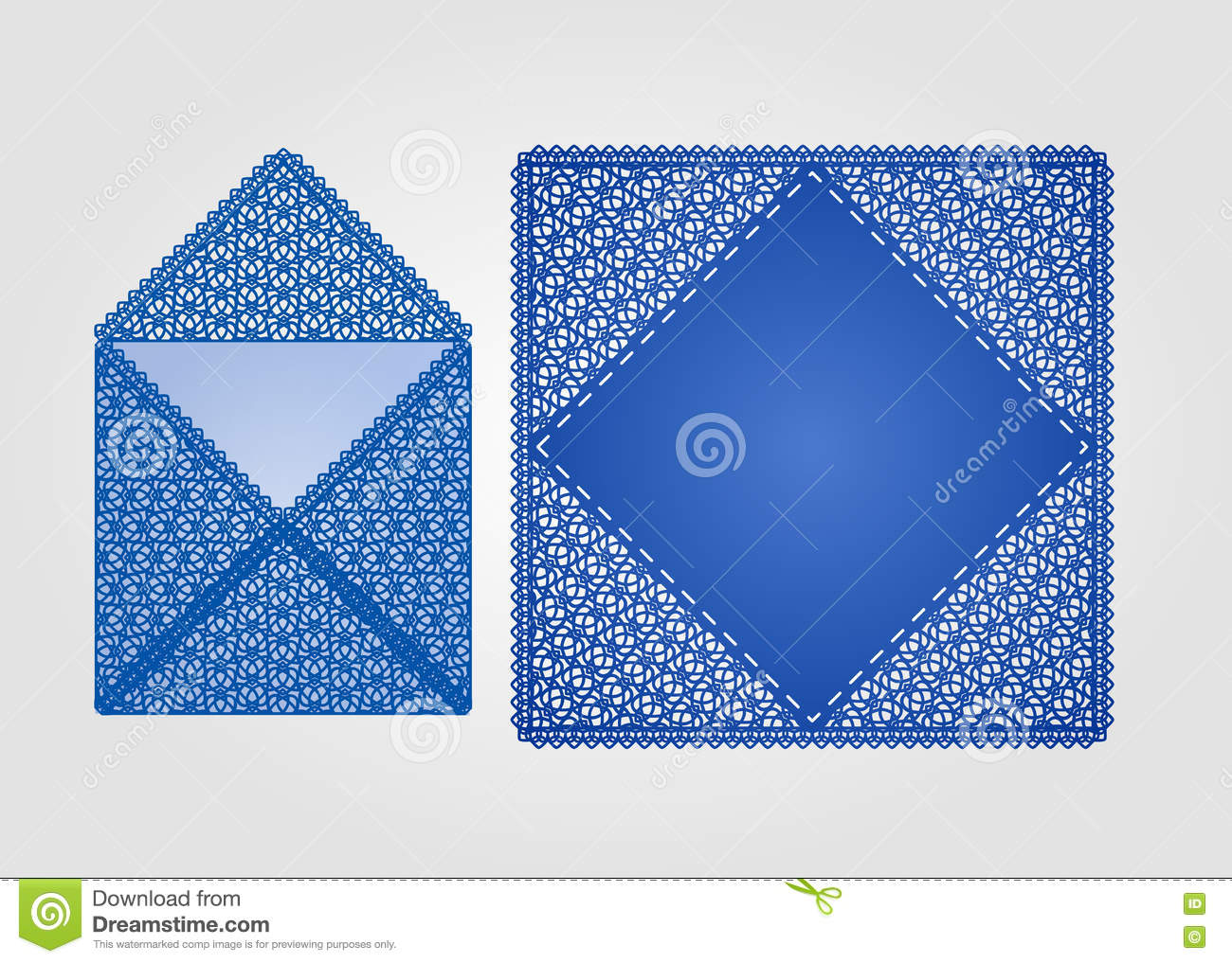 square laser cut invitation template stock vector