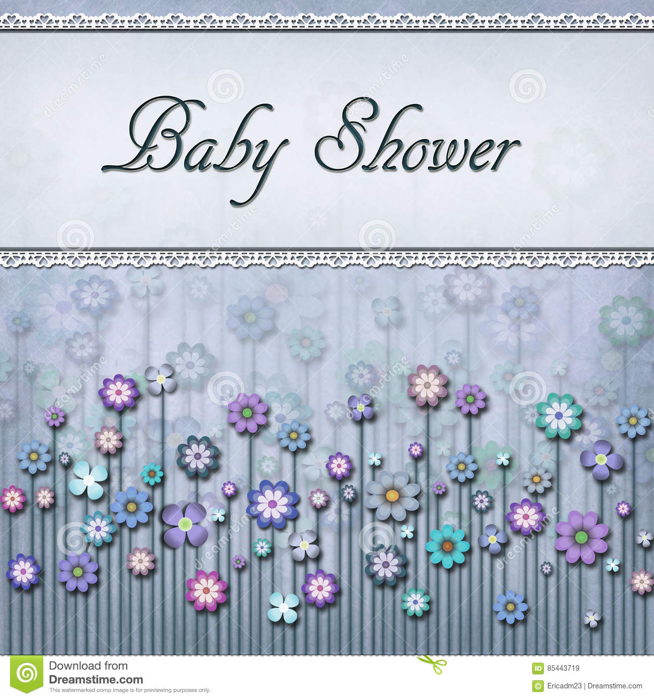 Square Light Blue Floral Baby Shower Card Stock