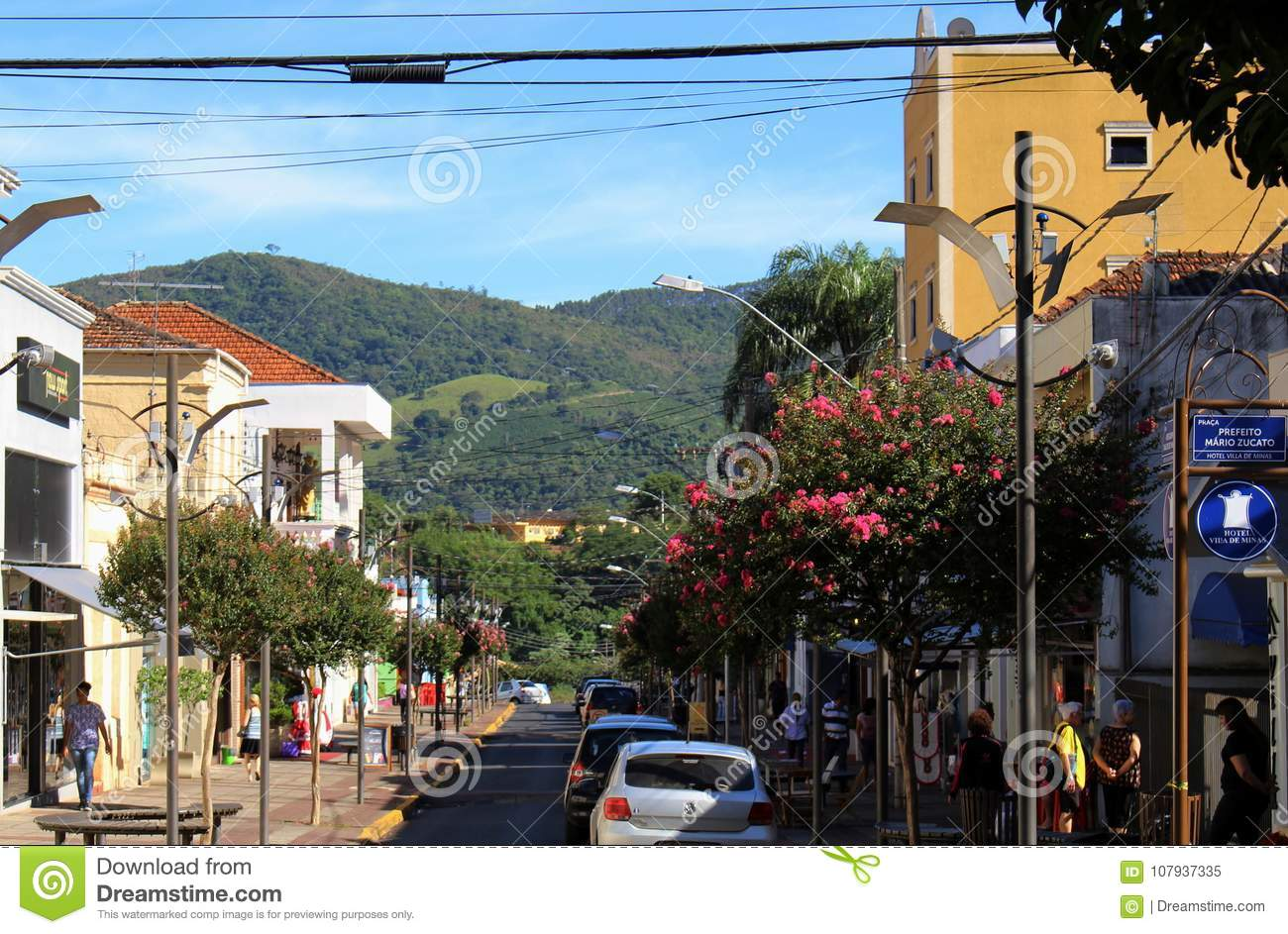 Square at little city in Brazil, Monte Siao-MG