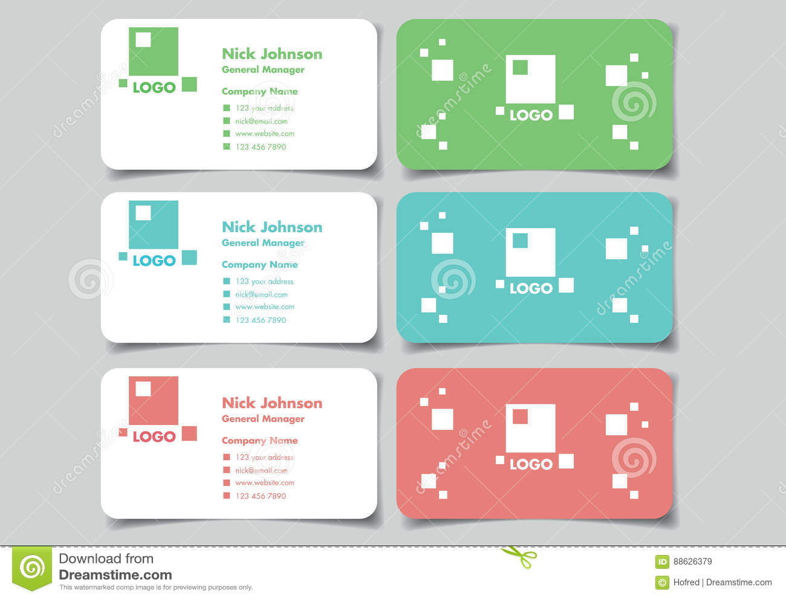 Square Logo Business Name Card Mock Up Set Vector Design Stock ...