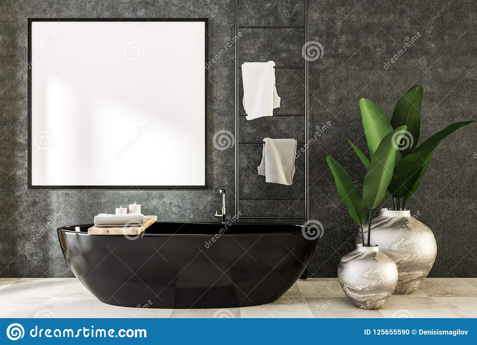 Square Mock Up Poster In Luxury Bathroom Stock Illustration ...