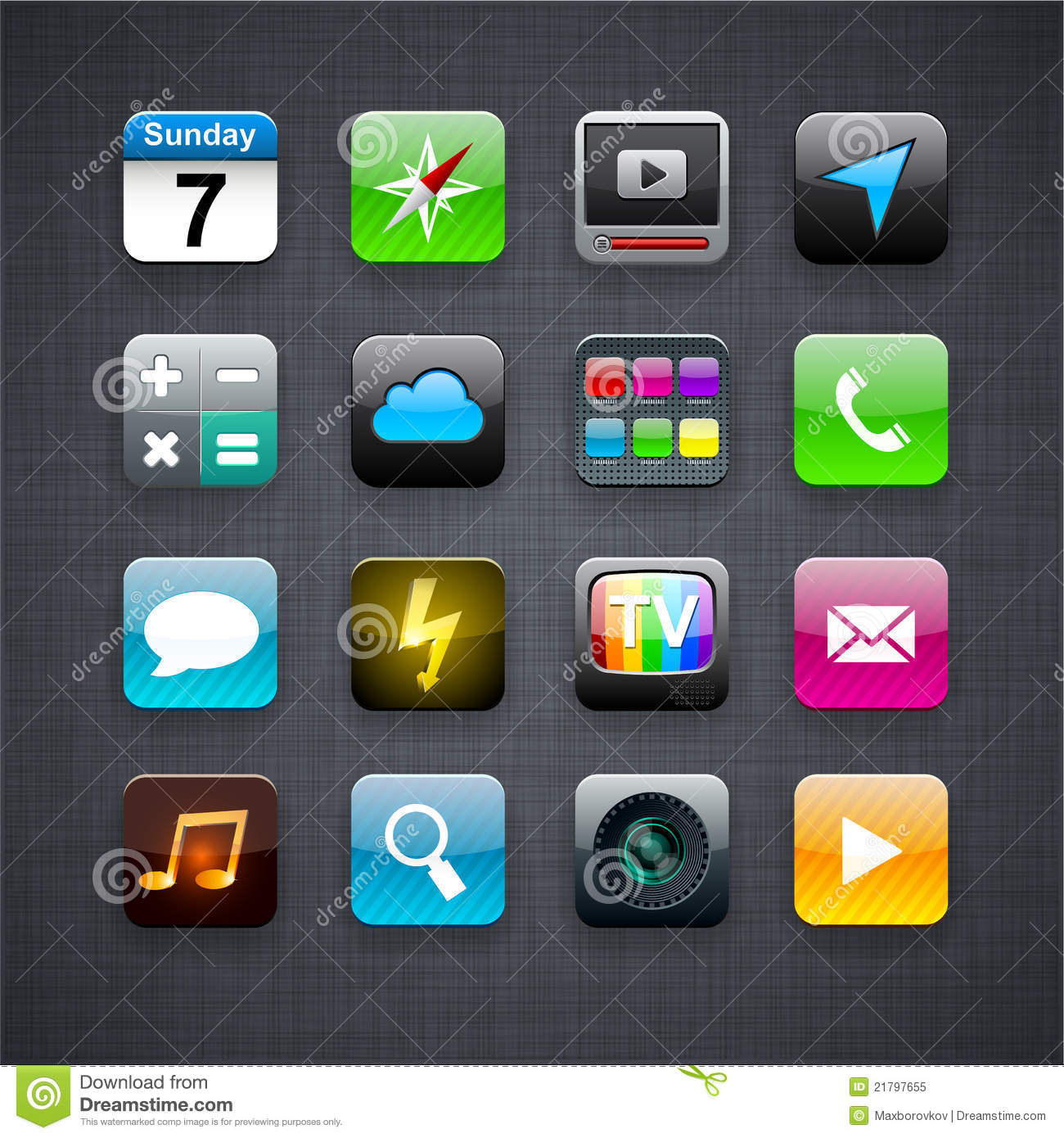 Square modern app icons.