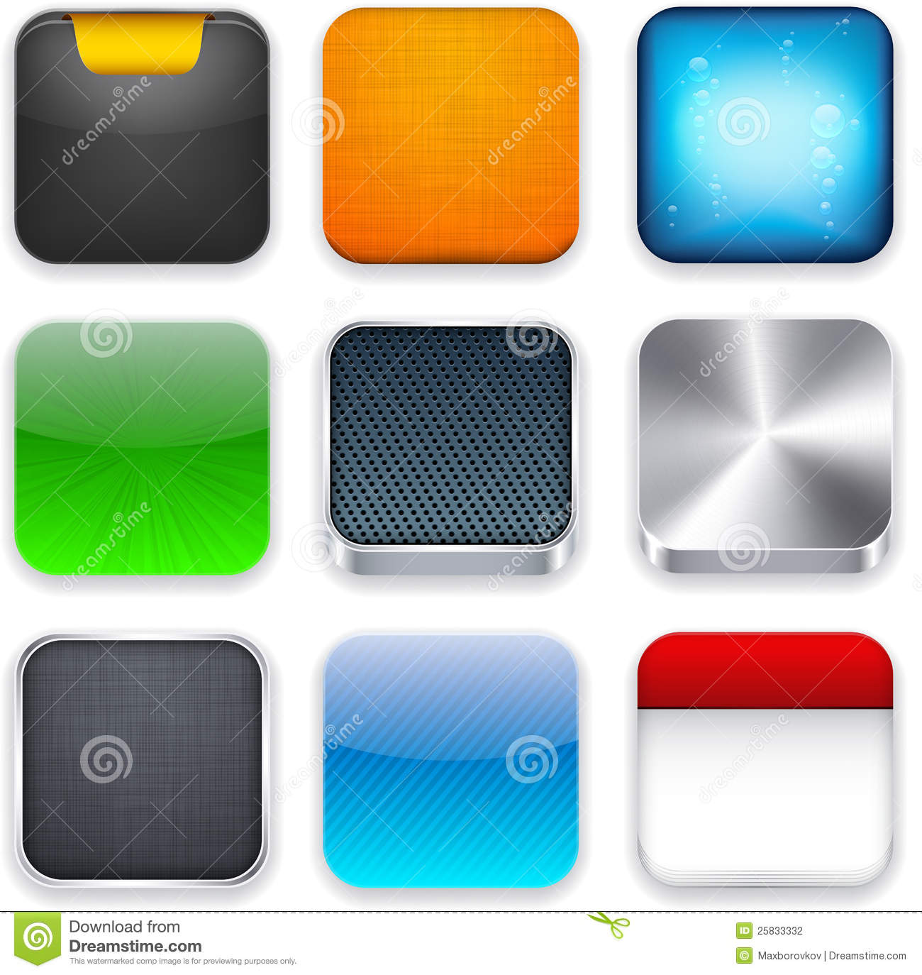 Square Modern App Template Icons. Stock Vector - Illustration of ...