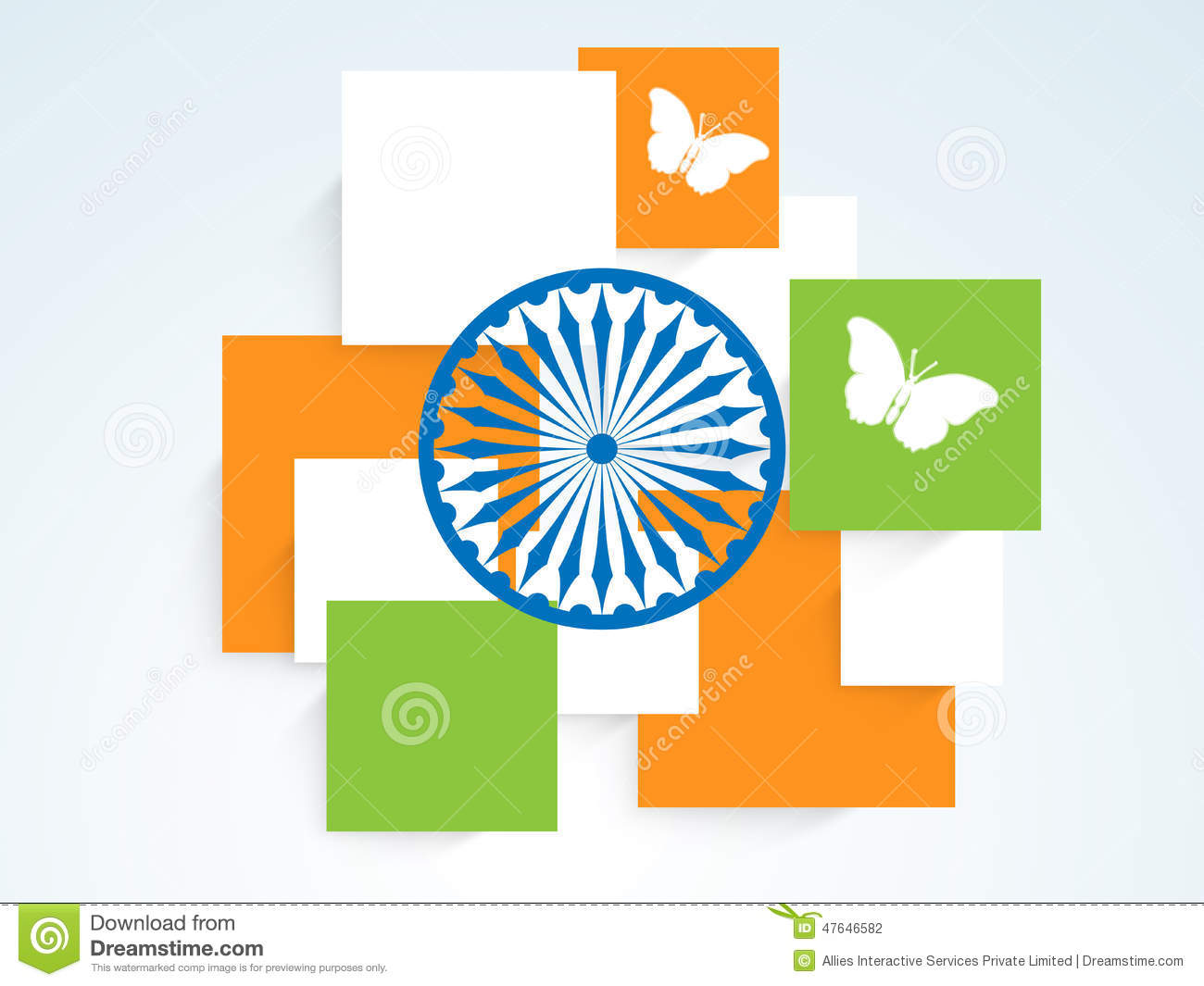 Indian Flag Butterflies: Square In National Flag Color With Ashoka Wheel And