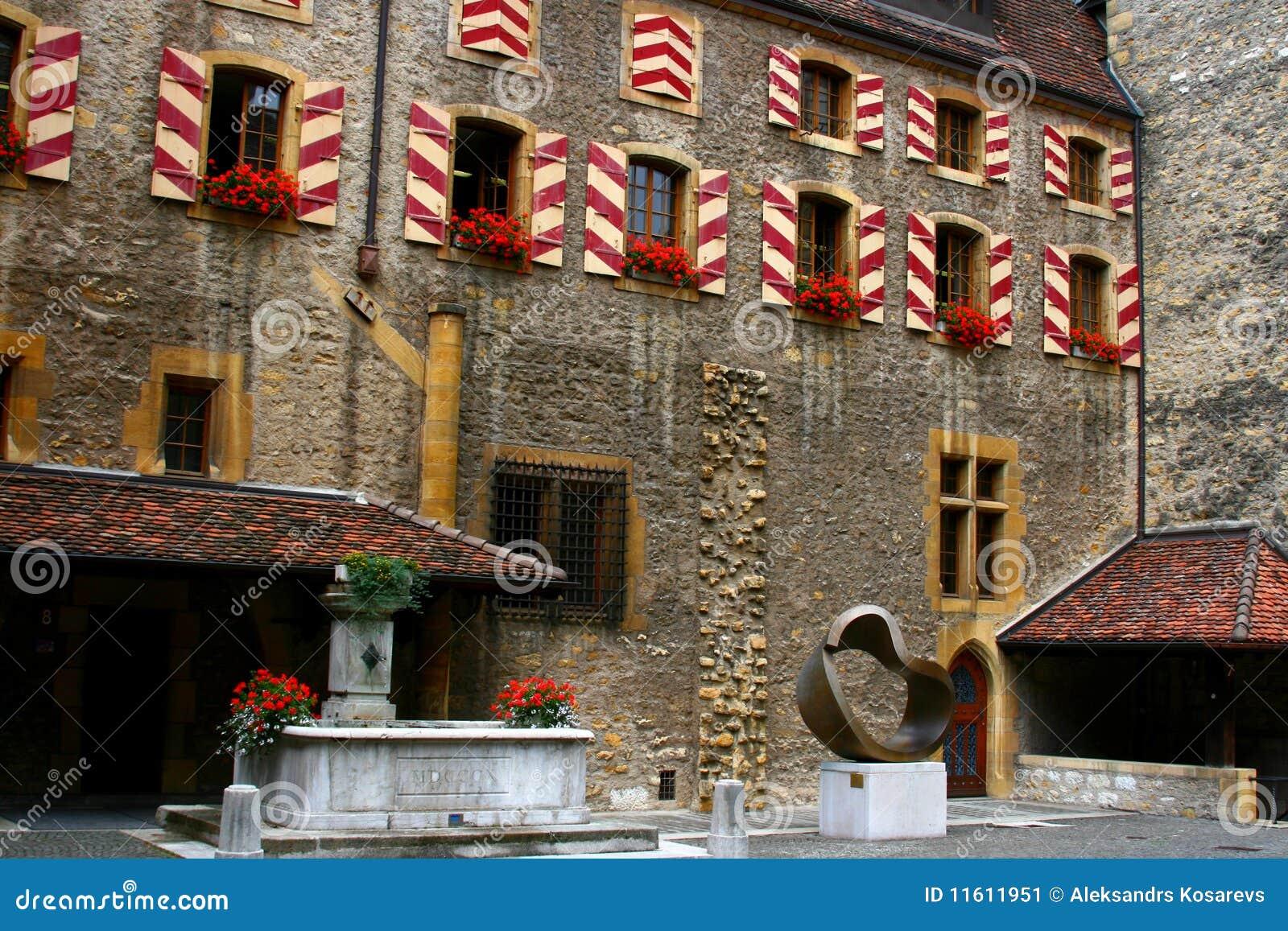 Square on Neuchatel castle, Switzeland