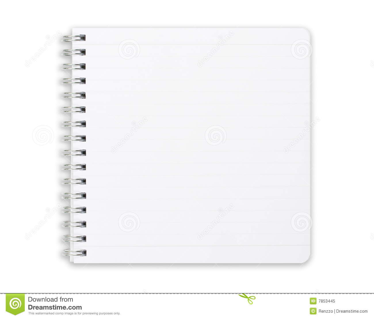 Square notebook isolated on white.