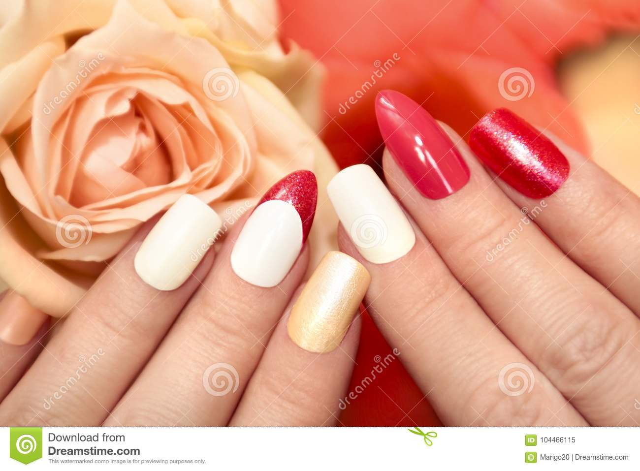 Square Oval Nails Stock Image Image Of Orange Decoration 104466115