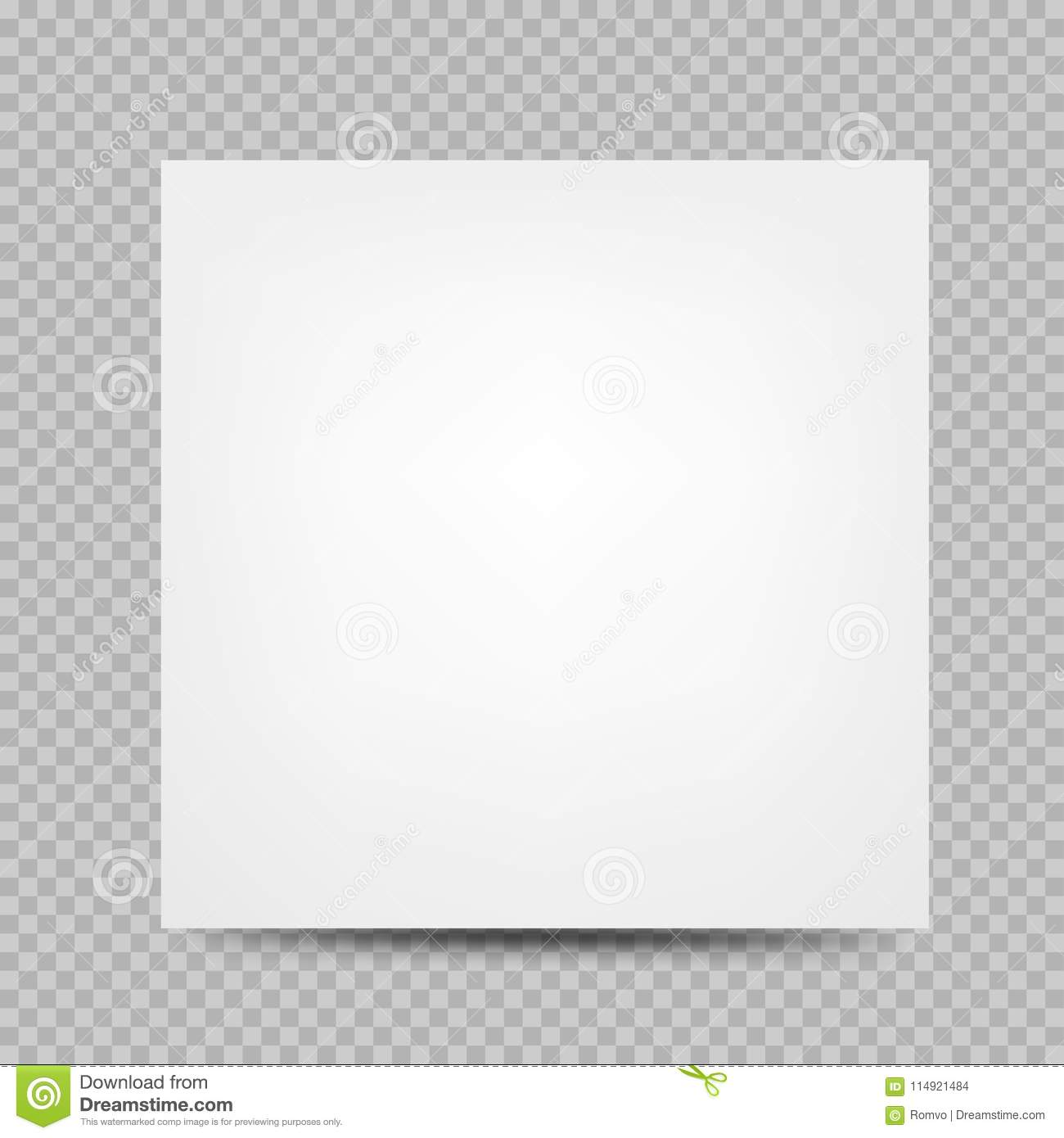 White Paper Square Banner Cover Empty Template With Shadow On Transparent Background