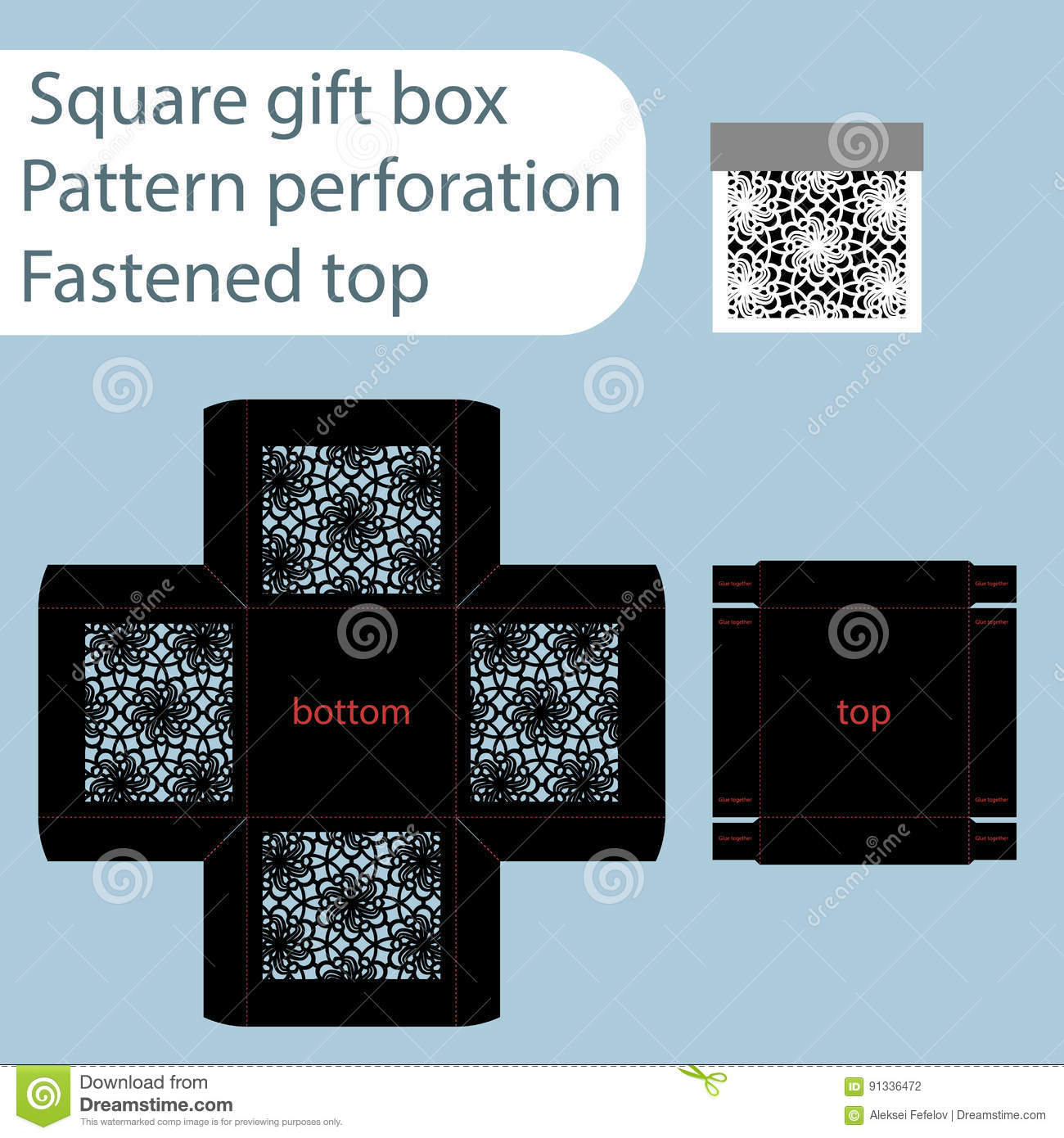 a square paper box box is fastened with a lid cut out template
