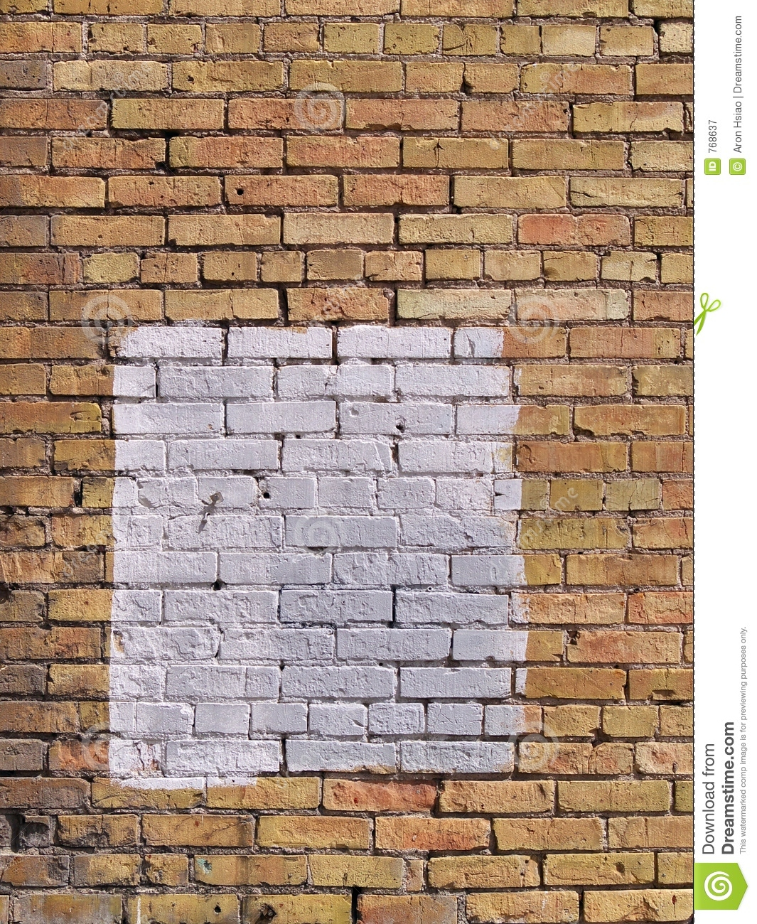 Square patch of white paint on brick wall royalty free stock photography image 768637 - Resource com verven ...