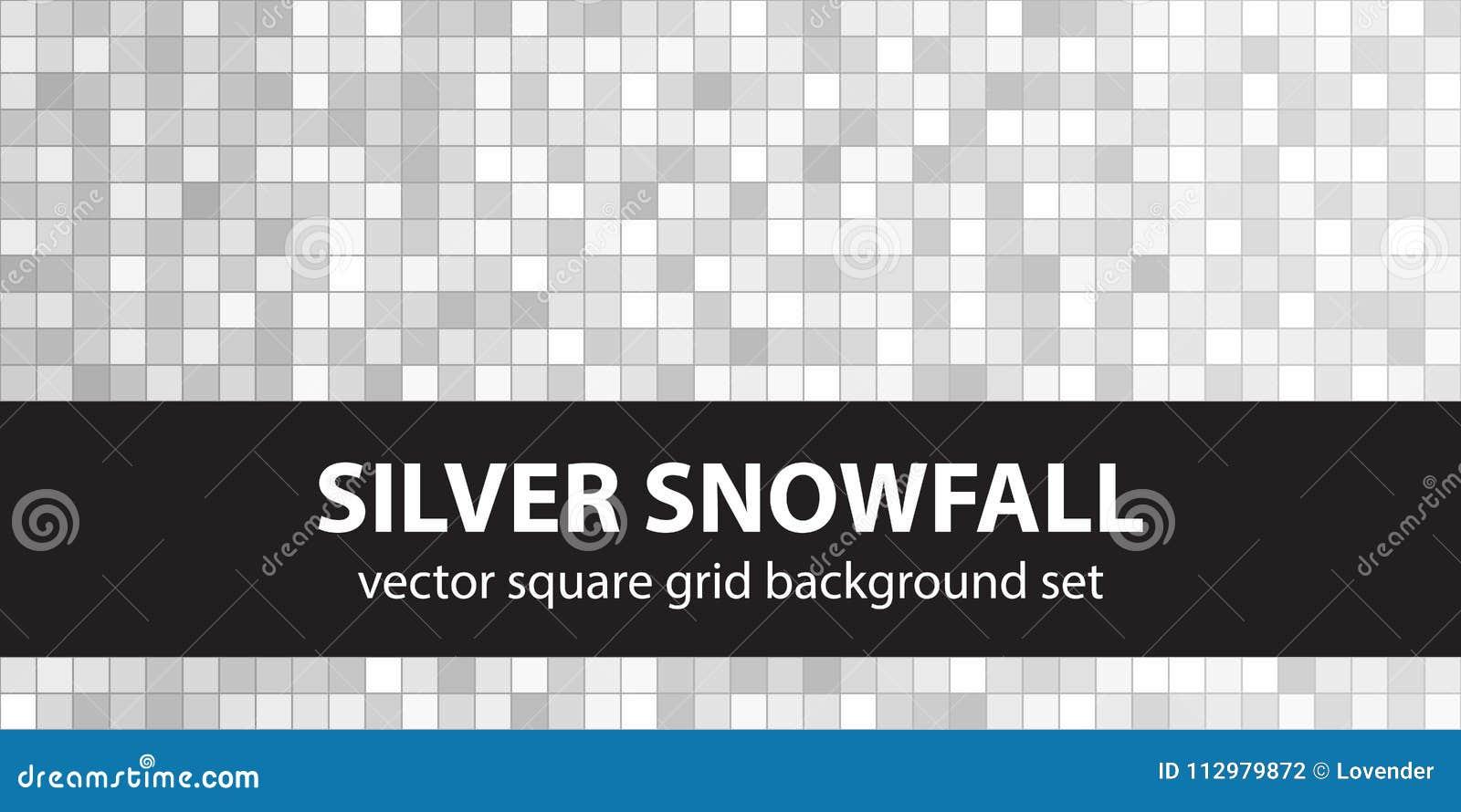 Square pattern set Silver Snowfall. Vector seamless geometric ba