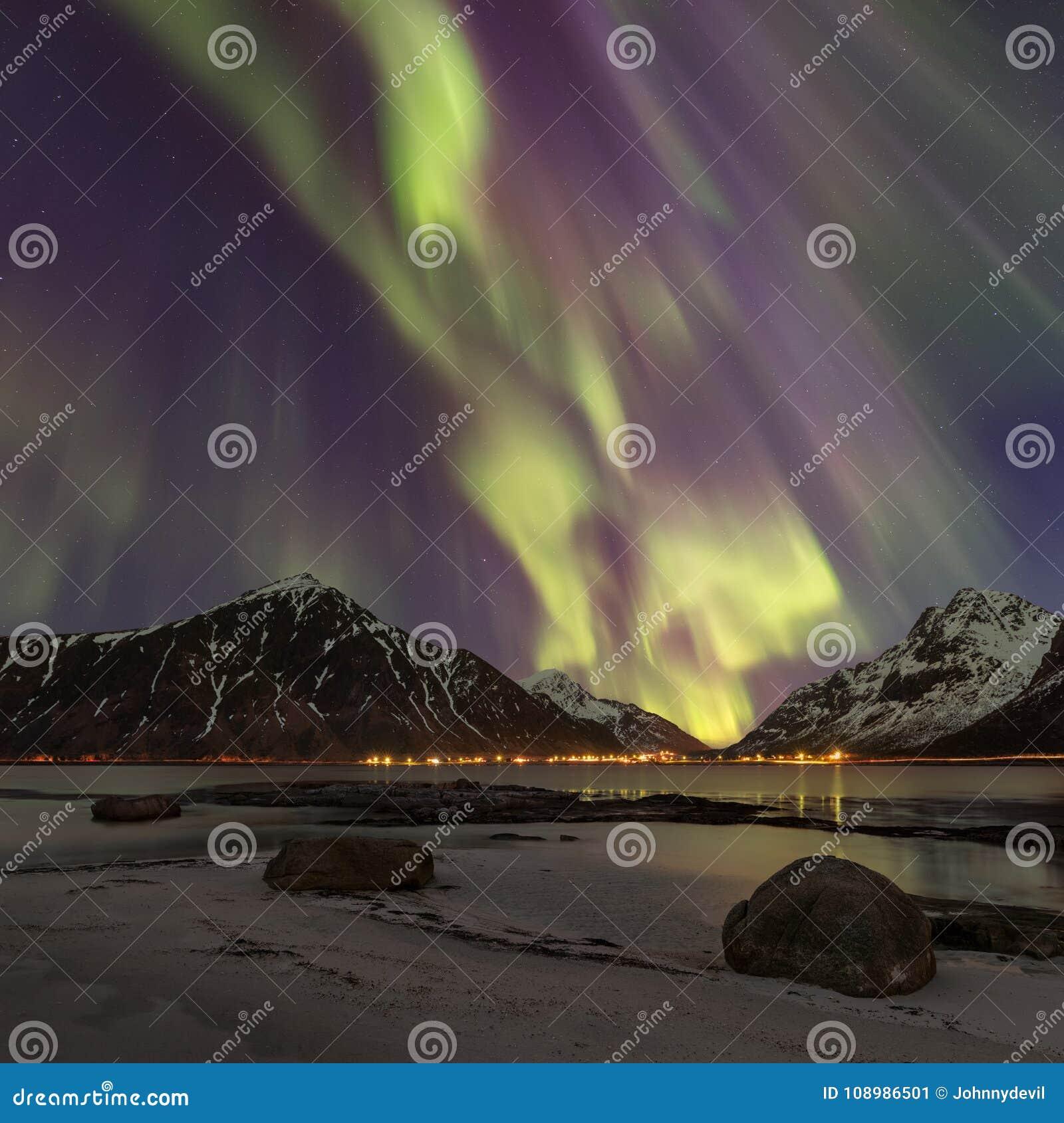 Square photo of Aurora Borealis, Lofoten, Norway.
