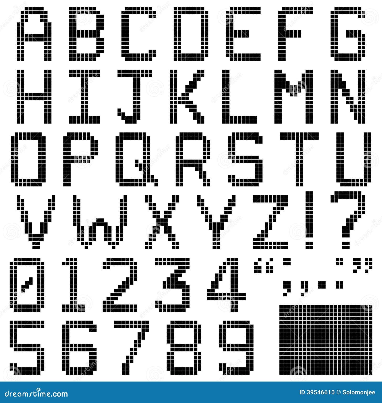 Square Pixel Font Stock Vector