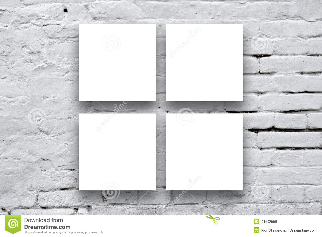 Square Painting Hanging On The Art Gallery Wall Stock Photo