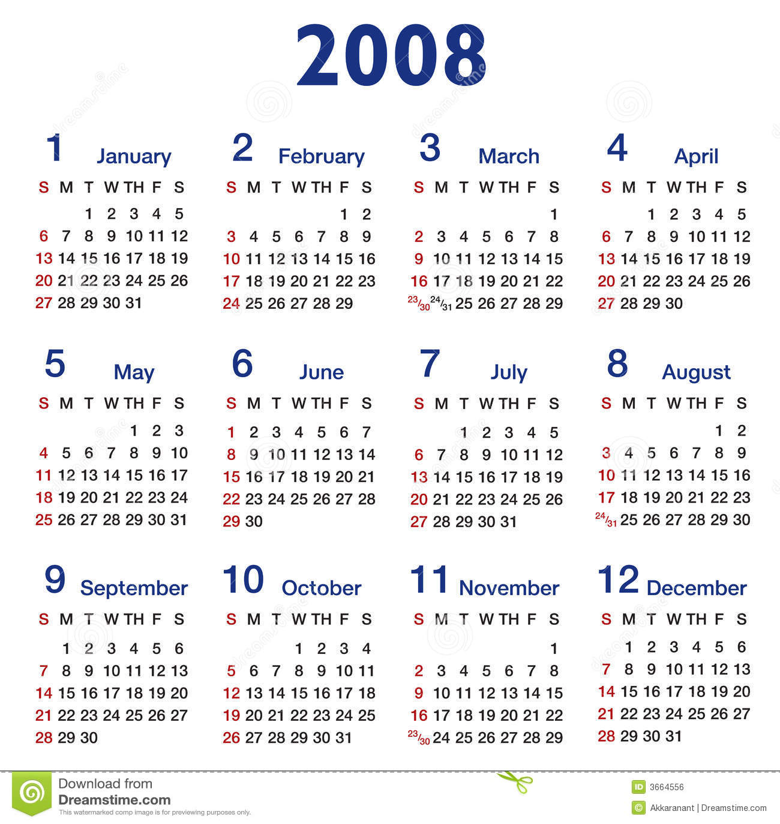 Square Ratio 2008 Calendar Stock Vector Illustration Of