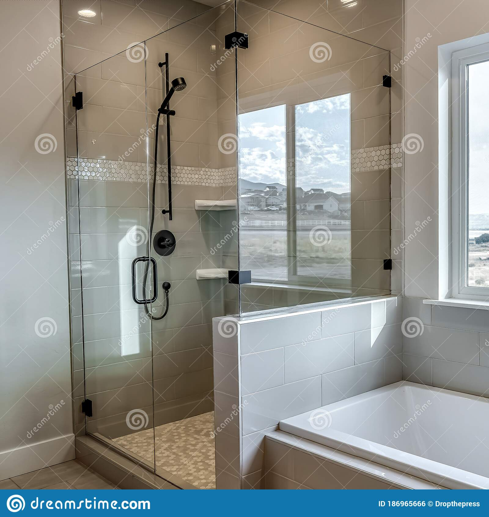 Square Rectangular Walk In Shower Stall With Half Glass Enclosure And Black Shower Head Stock Photo Image Of Shelf Enclosure 186965666