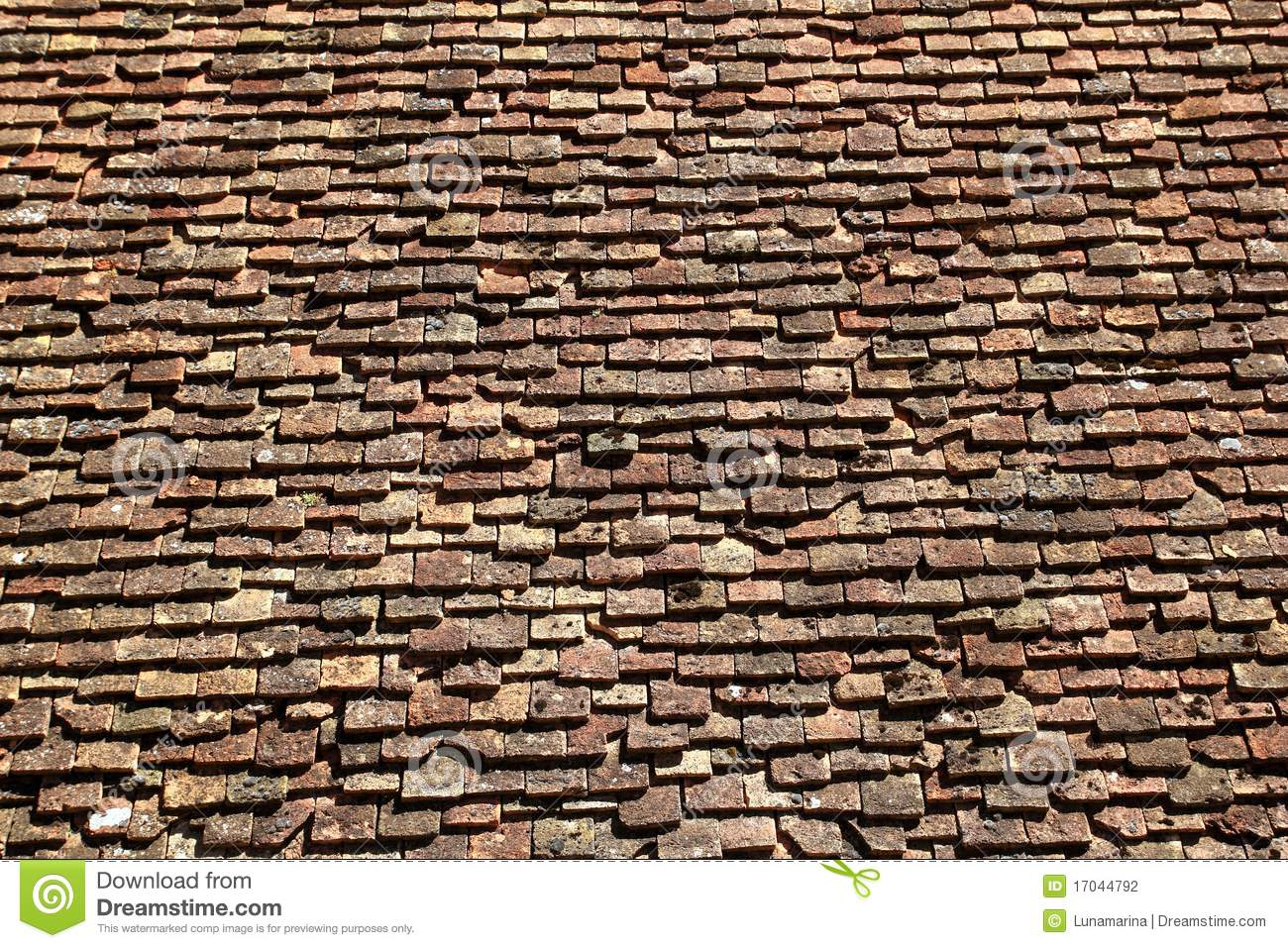 Square roof tiles plain clay pattern weathered stock photo for Clay tile roofs