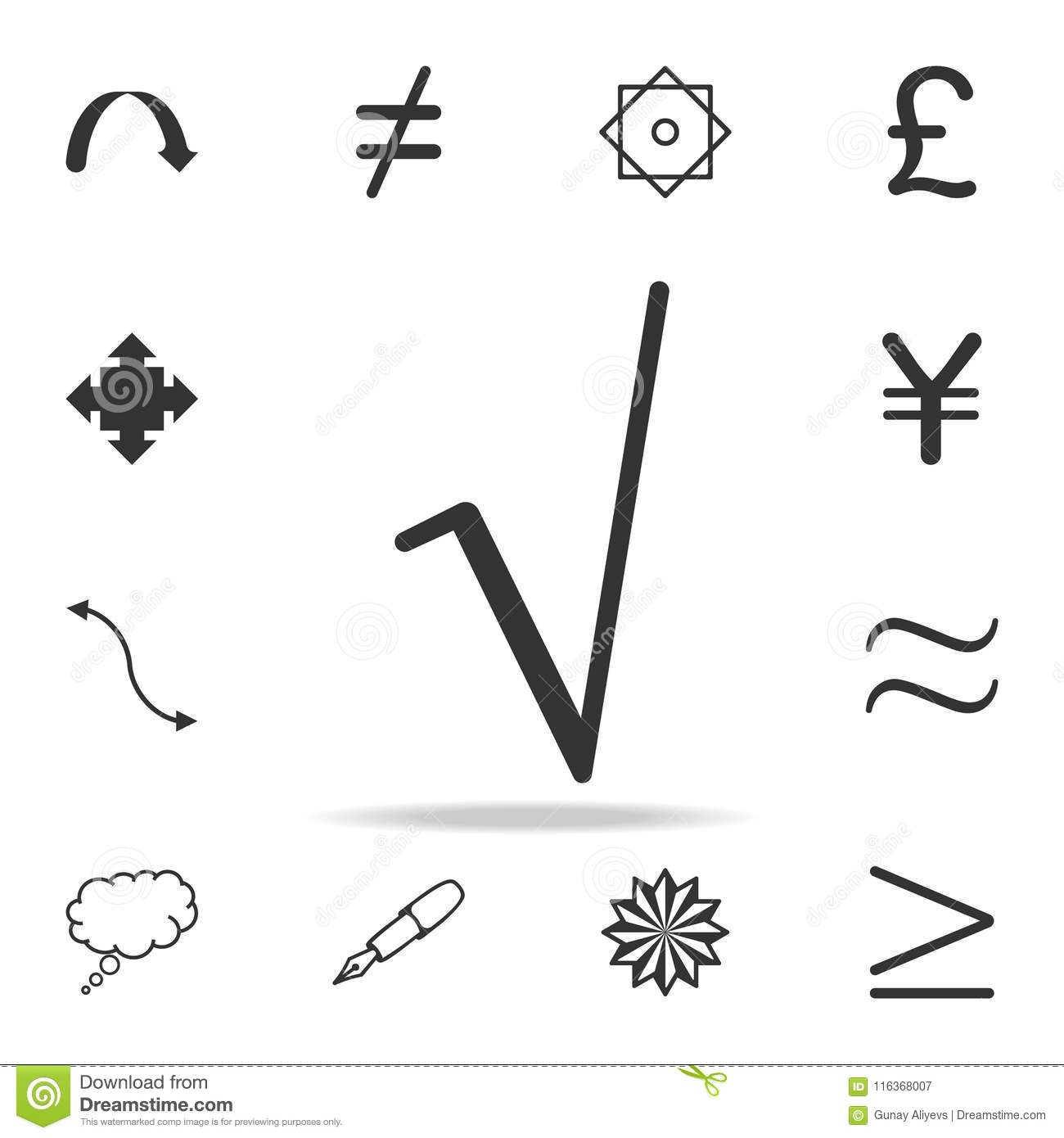 Square Root Symbol Icon Detailed Set Of Web Icons And Signs