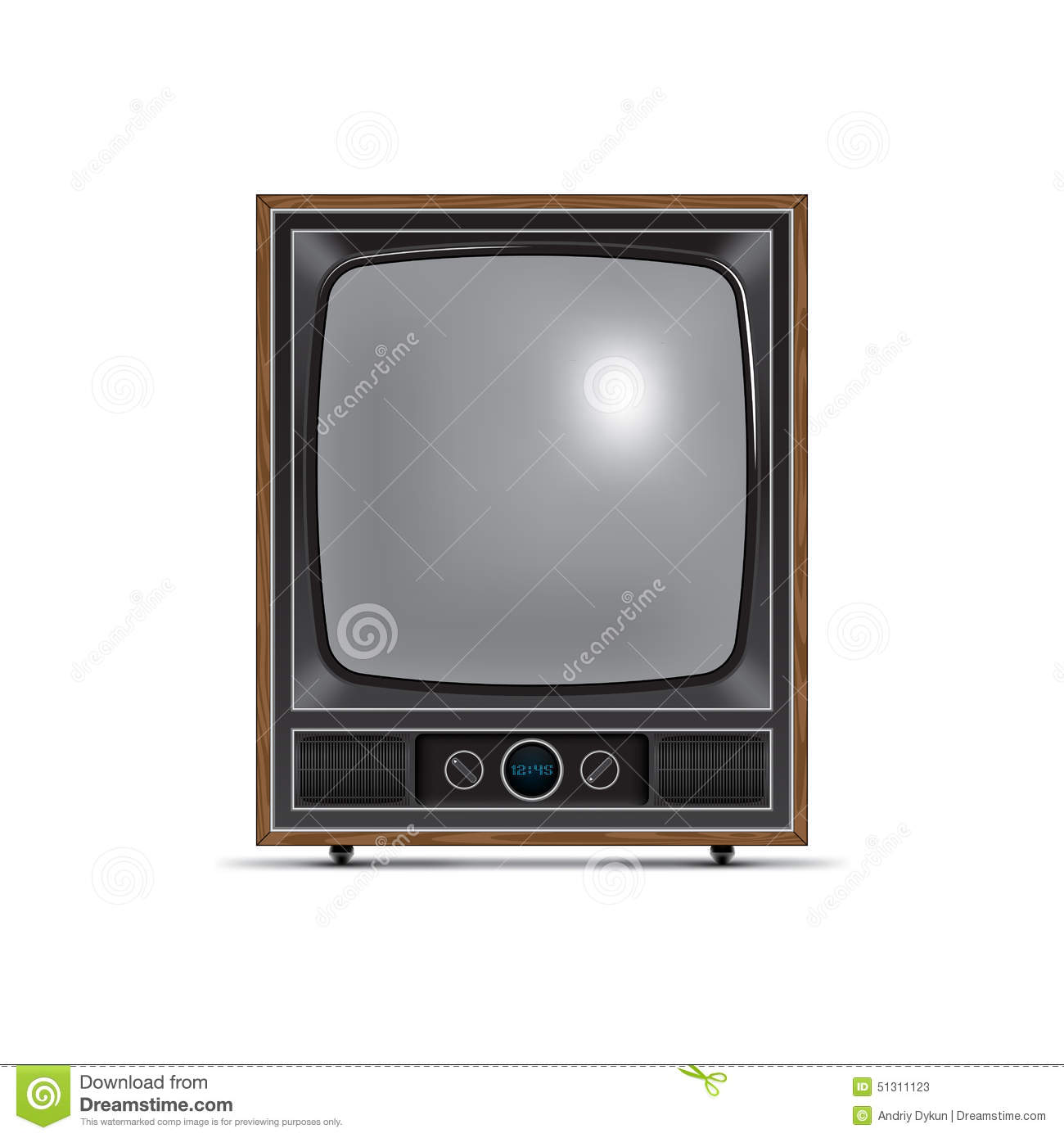 Square Screen Retro Tv Stock Vector - Image: 51311123