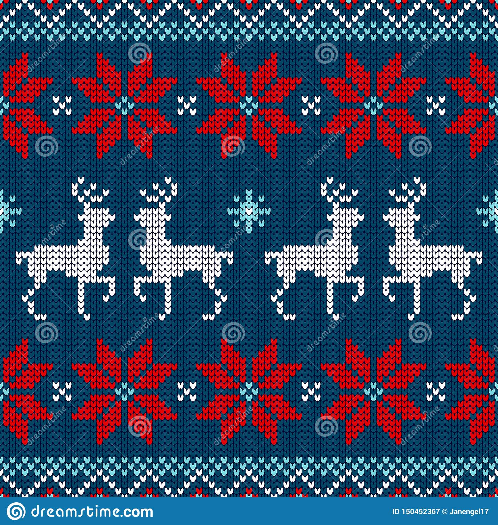 Seamless Pattern Knitted Reindeer And Poinsettia Red White Blue