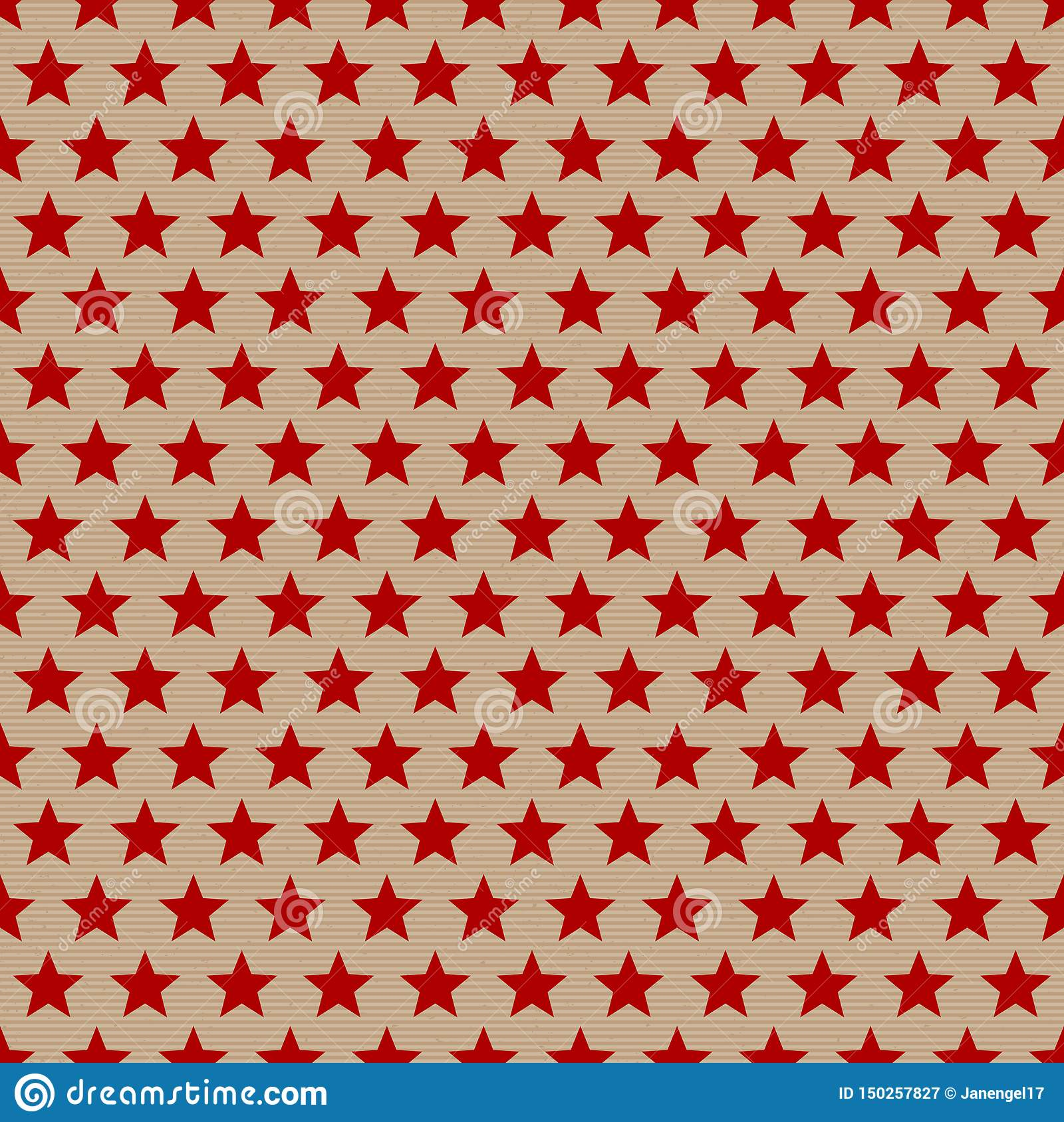 Seamless Pattern Red Stars On Brown Paper