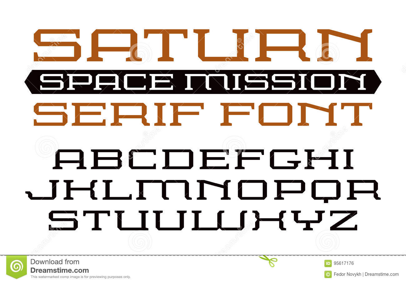 Square serif font in computer style