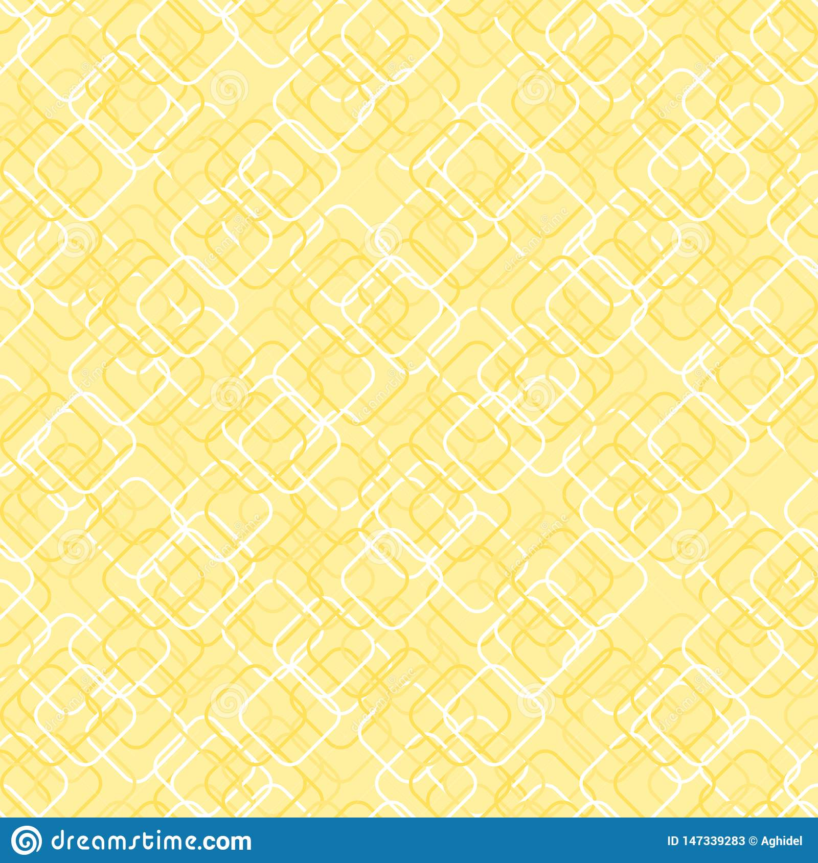 Square shapes with round corners. vector seamless pattern. simple yellow repetitive background. textile paint. fabric swatch.
