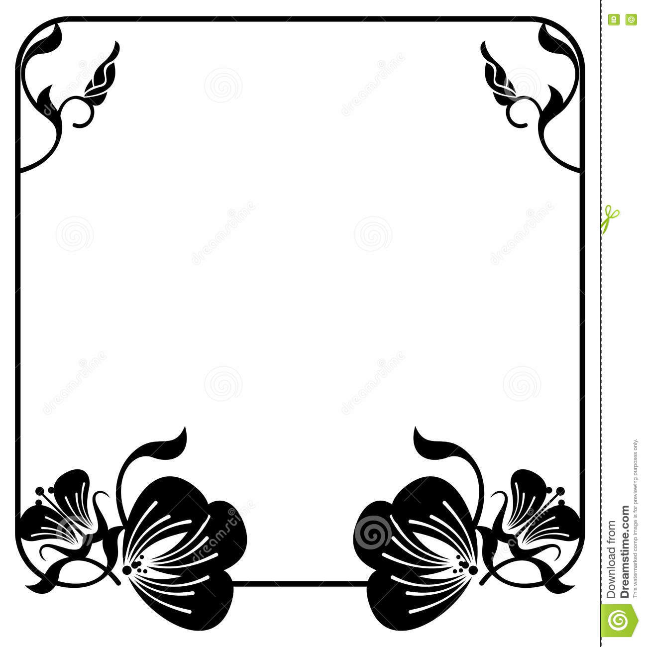 Square Silhouette Flower Frame. Copy Space. Vector Clip Art. Stock ...