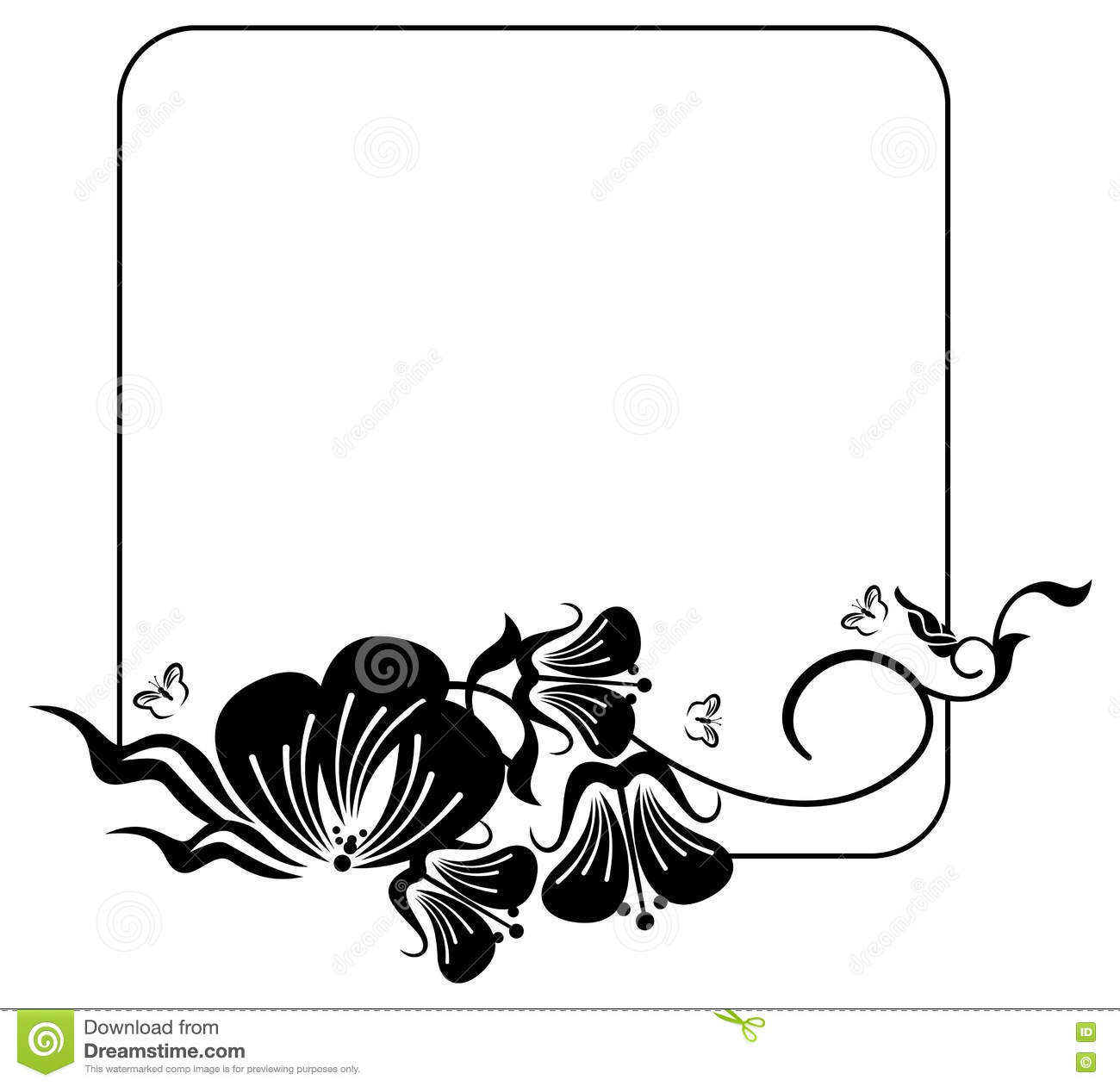 Square Silhouette Flower Frame Copy Space Vector Clip Art Stock Photo - Image Of -6522