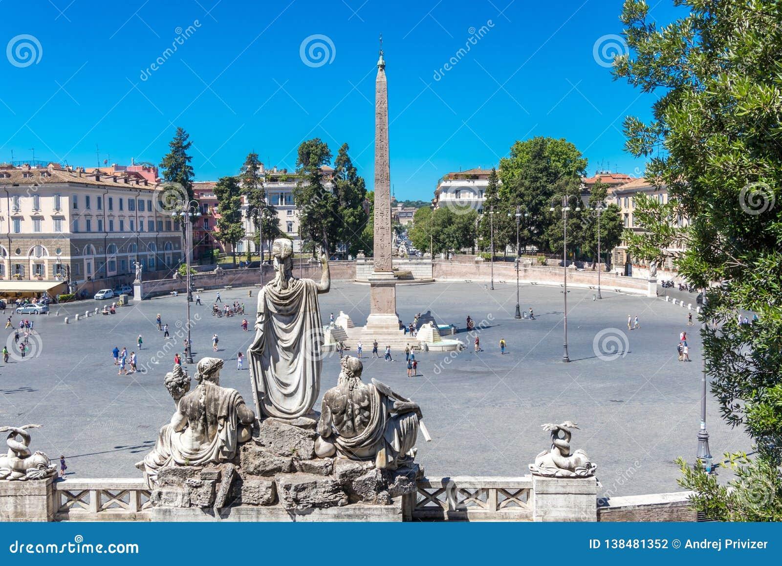 The Piazza del Popolo and Flaminio Obelisk