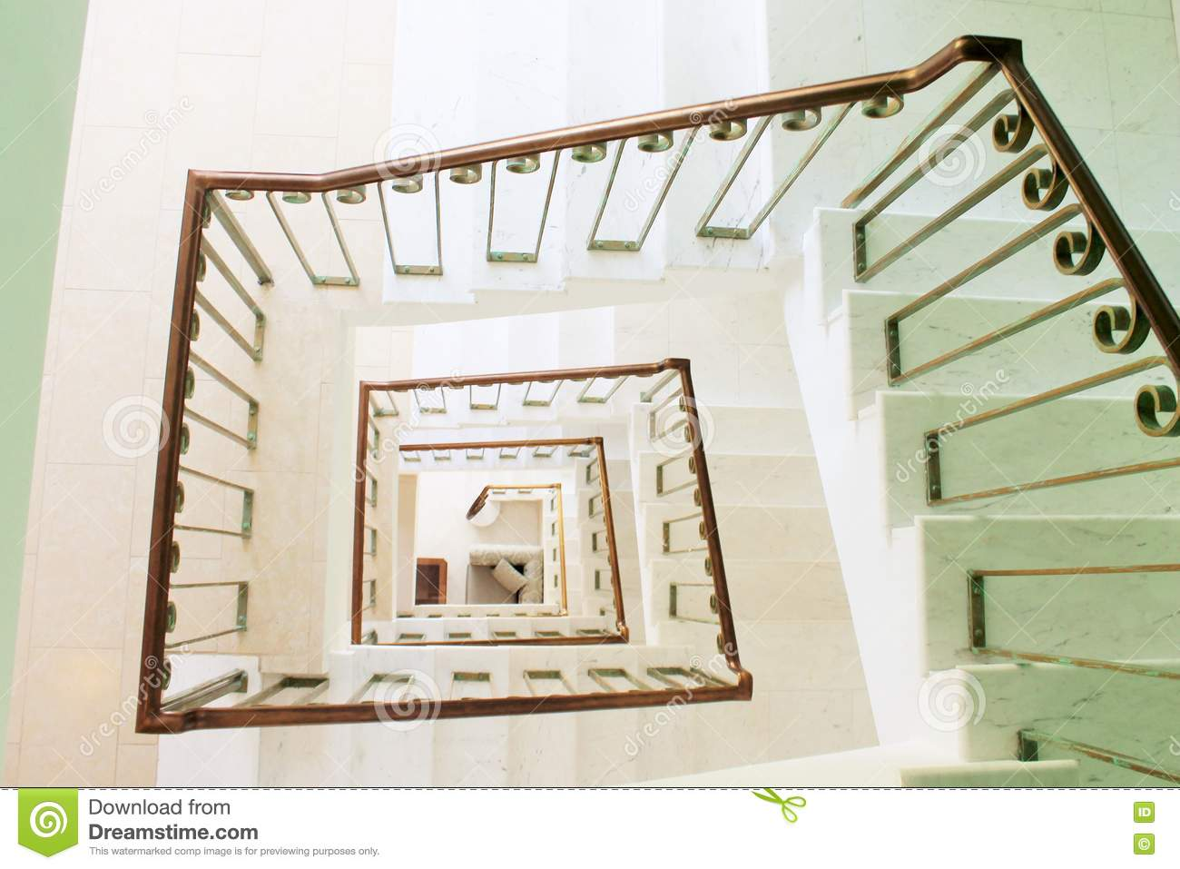 Staircase Square Staircase Perspective View From Above Stock Image