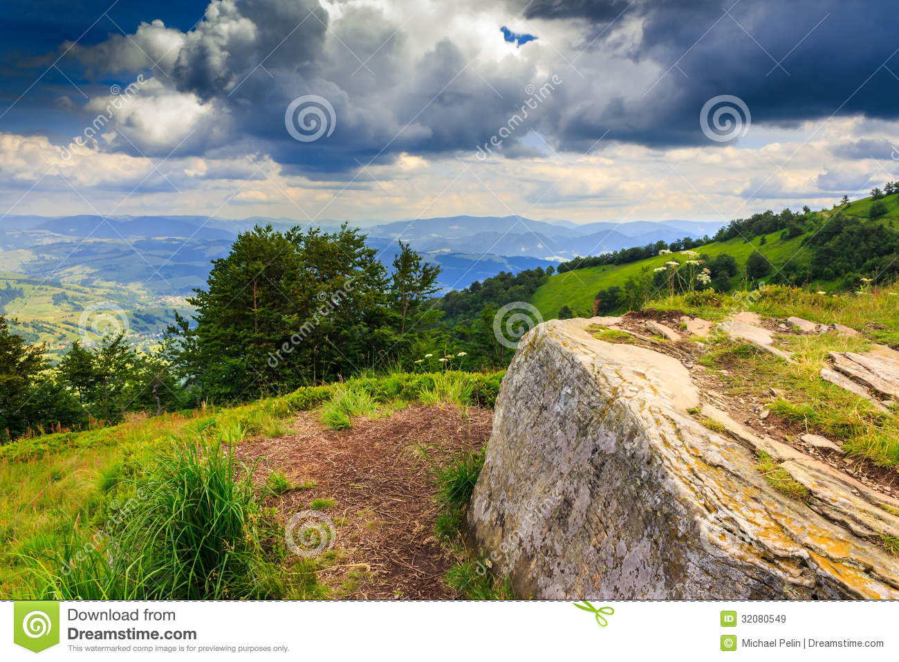 Download Square Stone Waiting The Storm On Top Of The Mountain Stock Image - Image of clouds, blue: 32080549