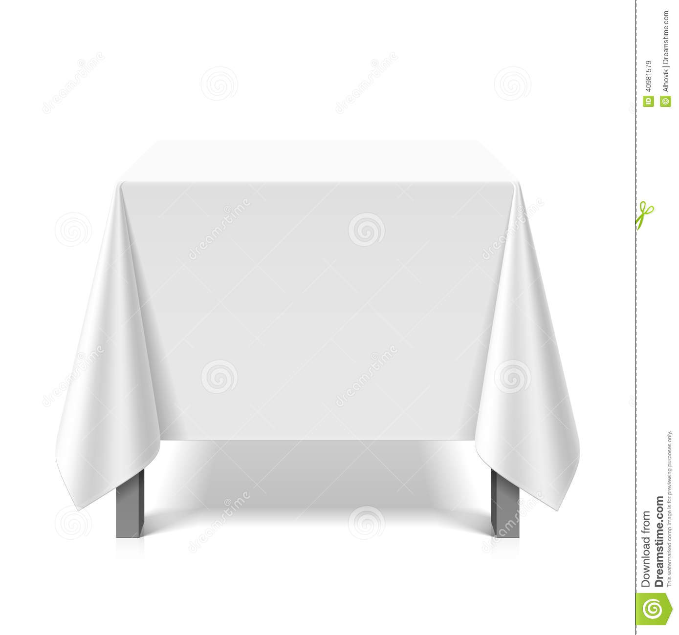 Square Table Covered With White Tablecloth Stock Vector