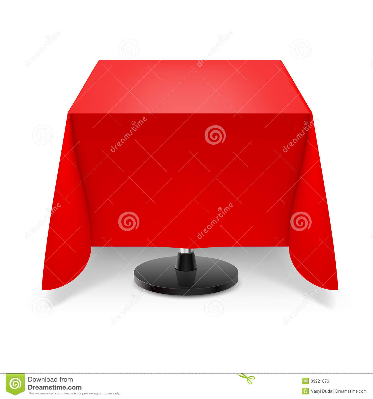 Square Table With Red Tablecloth. Stock Illustration ...
