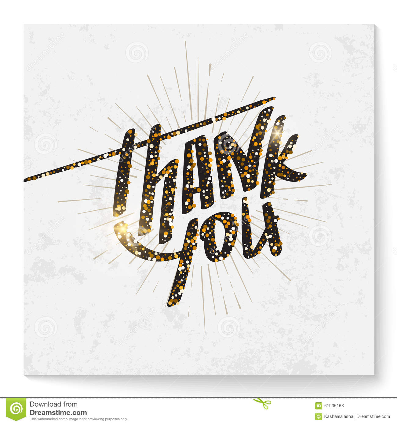 square thank you card with modern glitter lettering stock