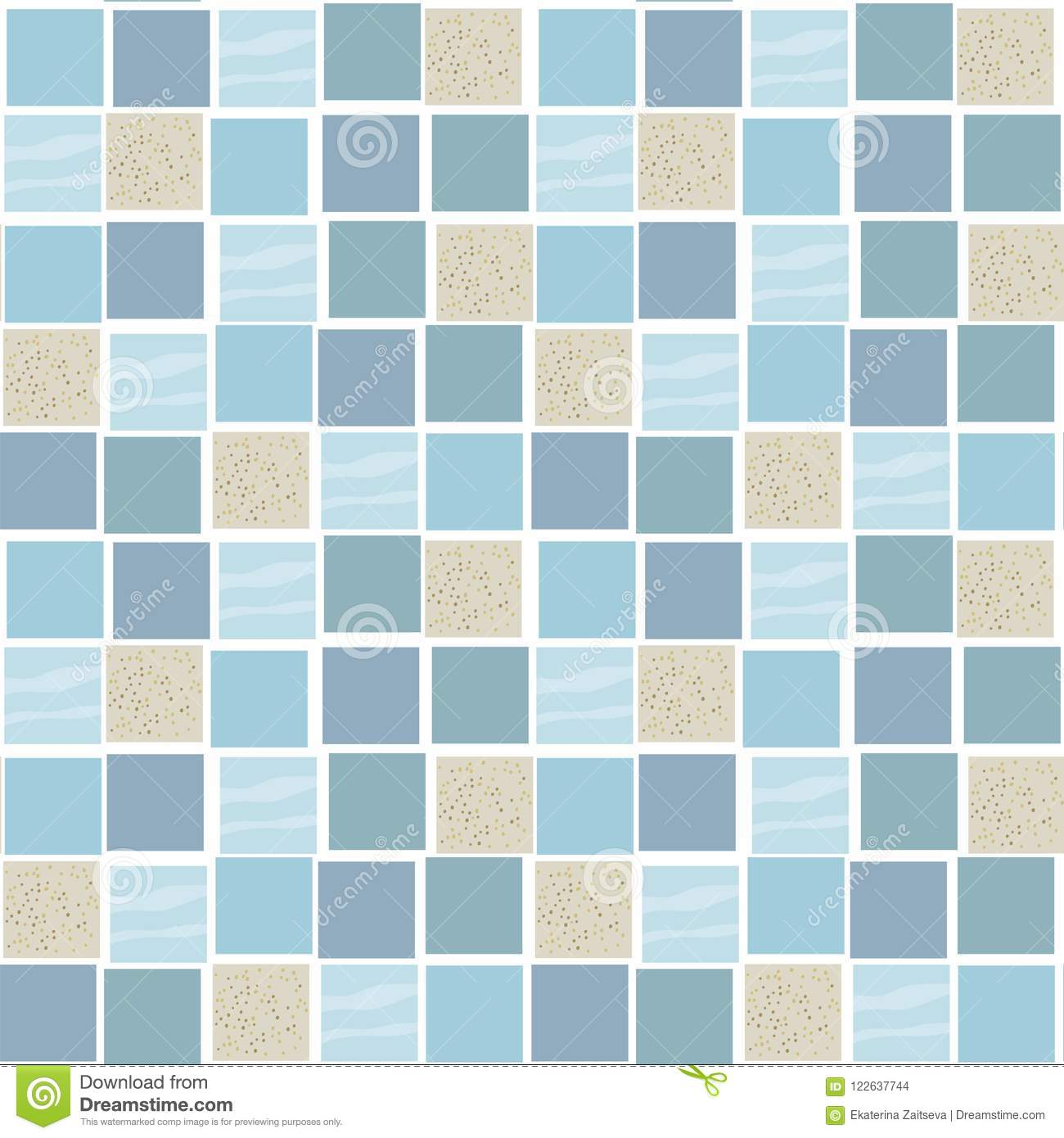 Square Tiles Of Navy Blue Shades And Beige With A Sand Texture Drawn