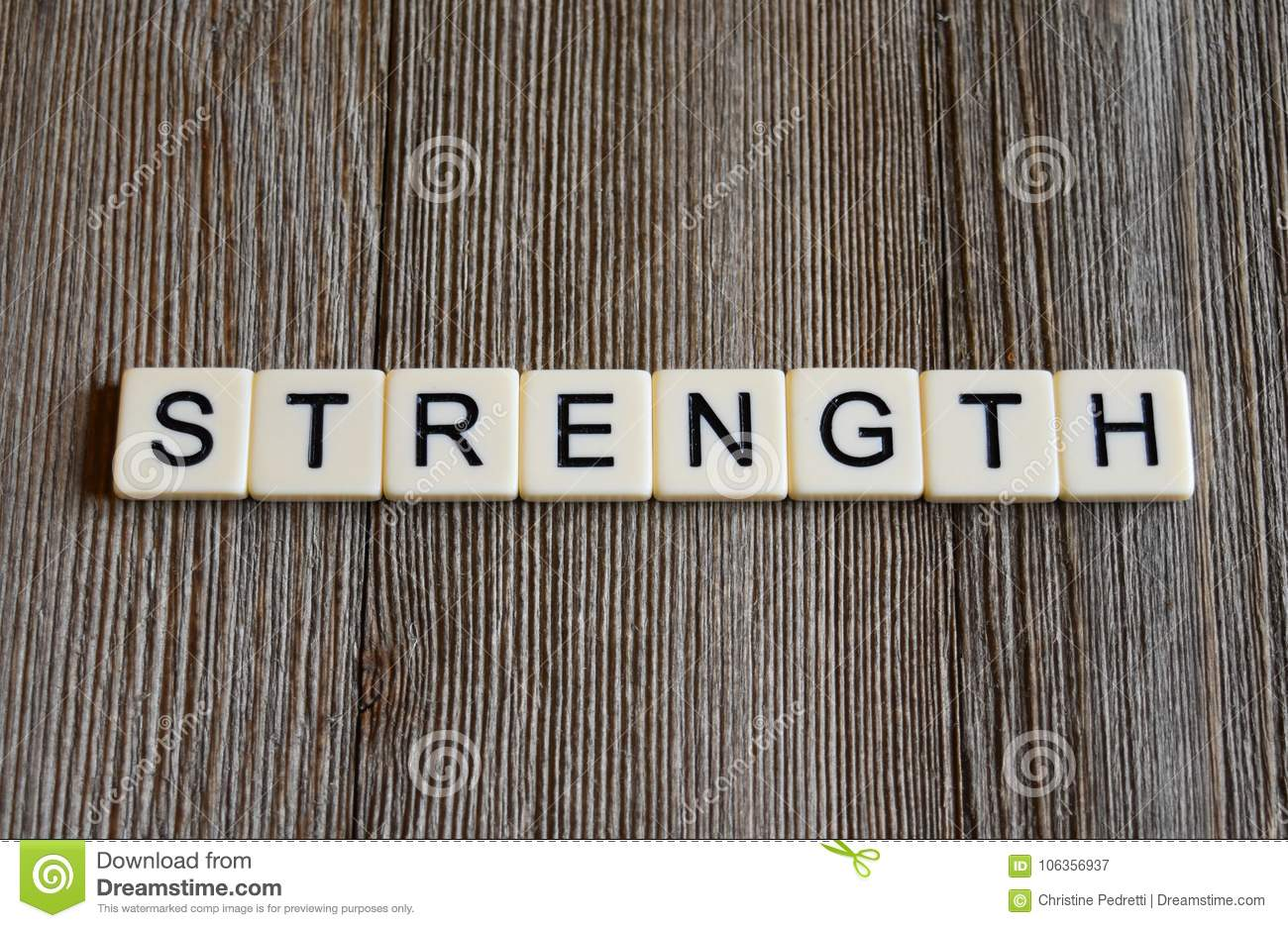 Tile Letters Spelling The Word `Strength` Stock Image