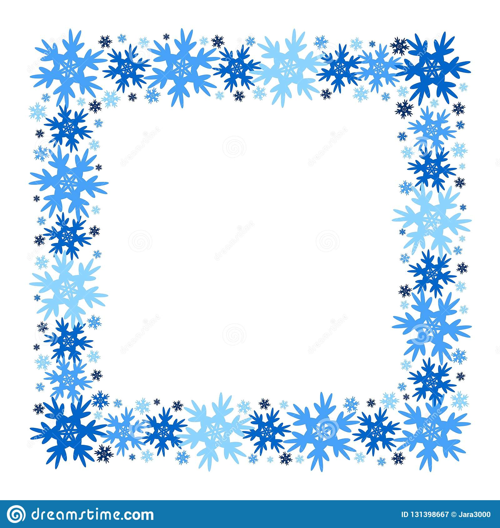 Square Vector Winter Frame Of Snowflakes. Isolated. Stock Vector ...