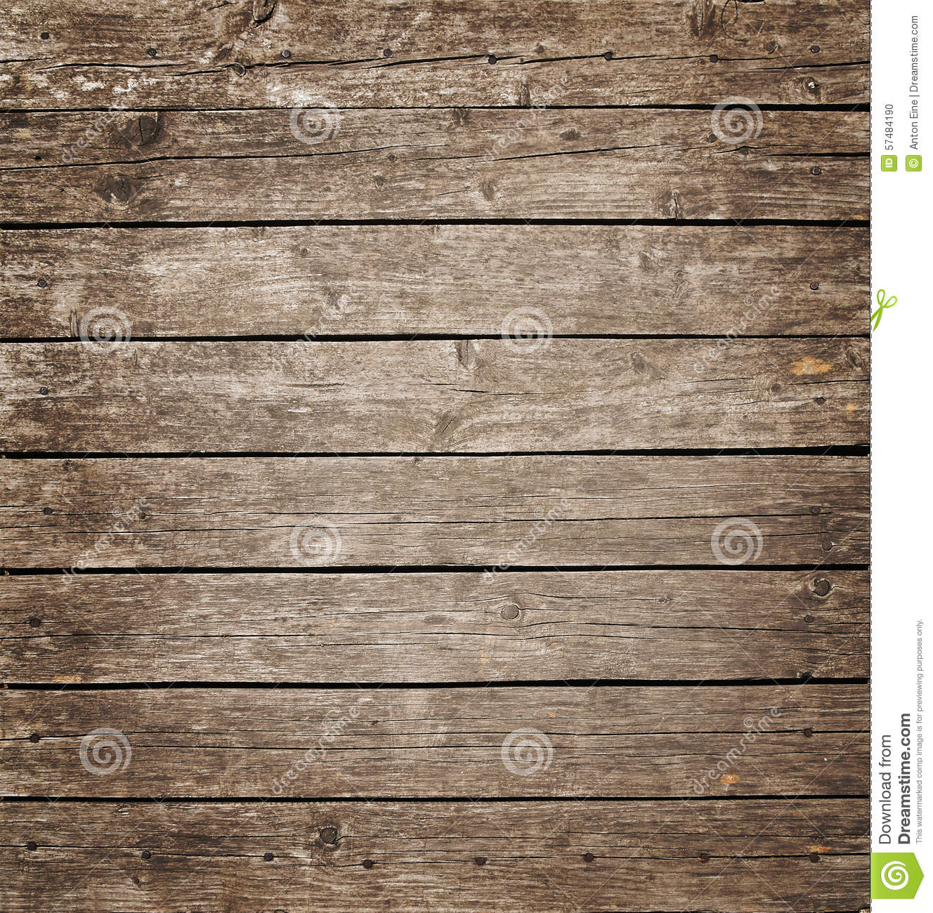 Square vintage wooden panel with horizontal planks and