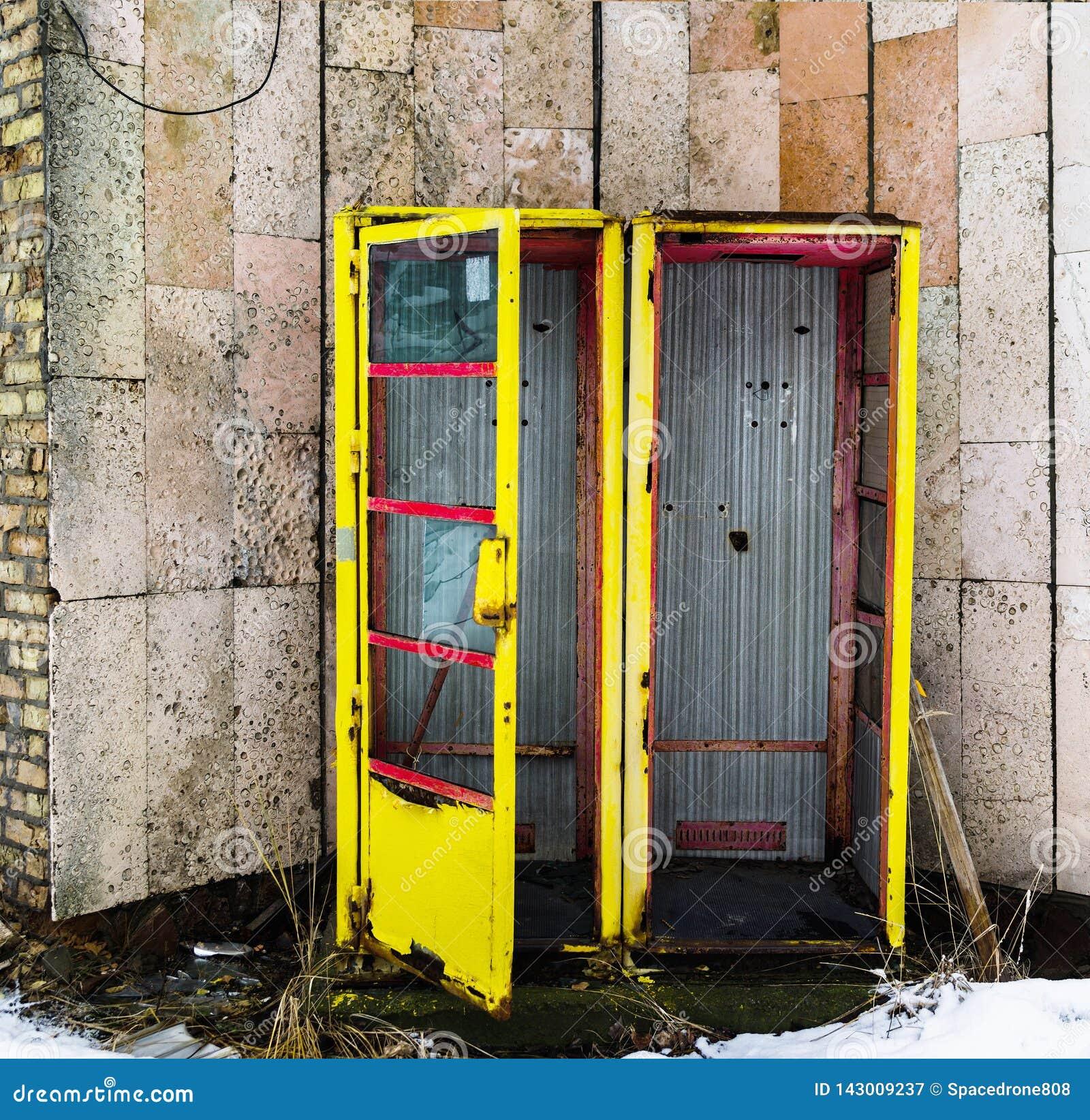 Square Vivid Vintage Radioactive Ussr Pripyat Call-box