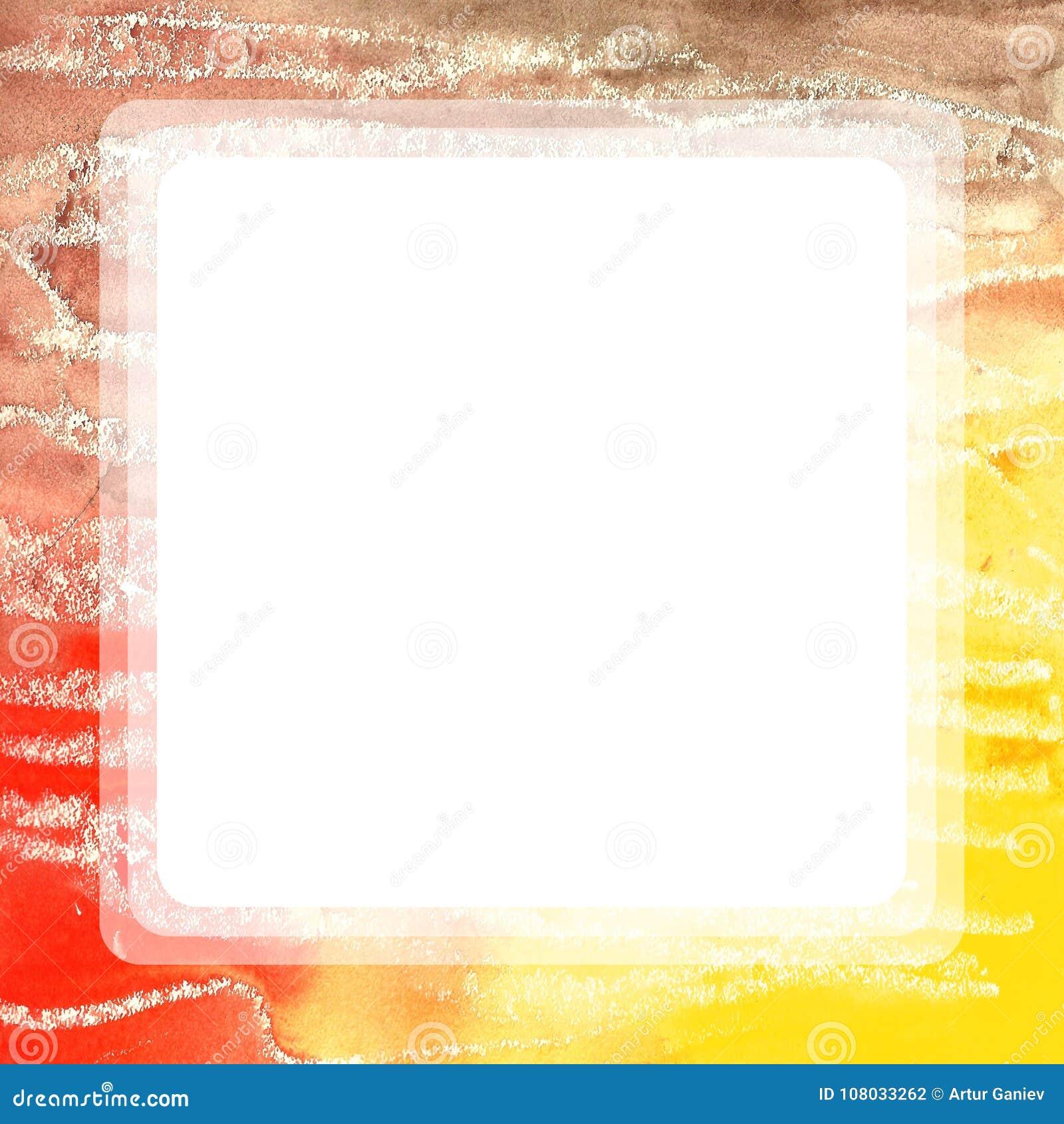 Square Watercolor Frame Handmade. Stock Illustration - Illustration ...