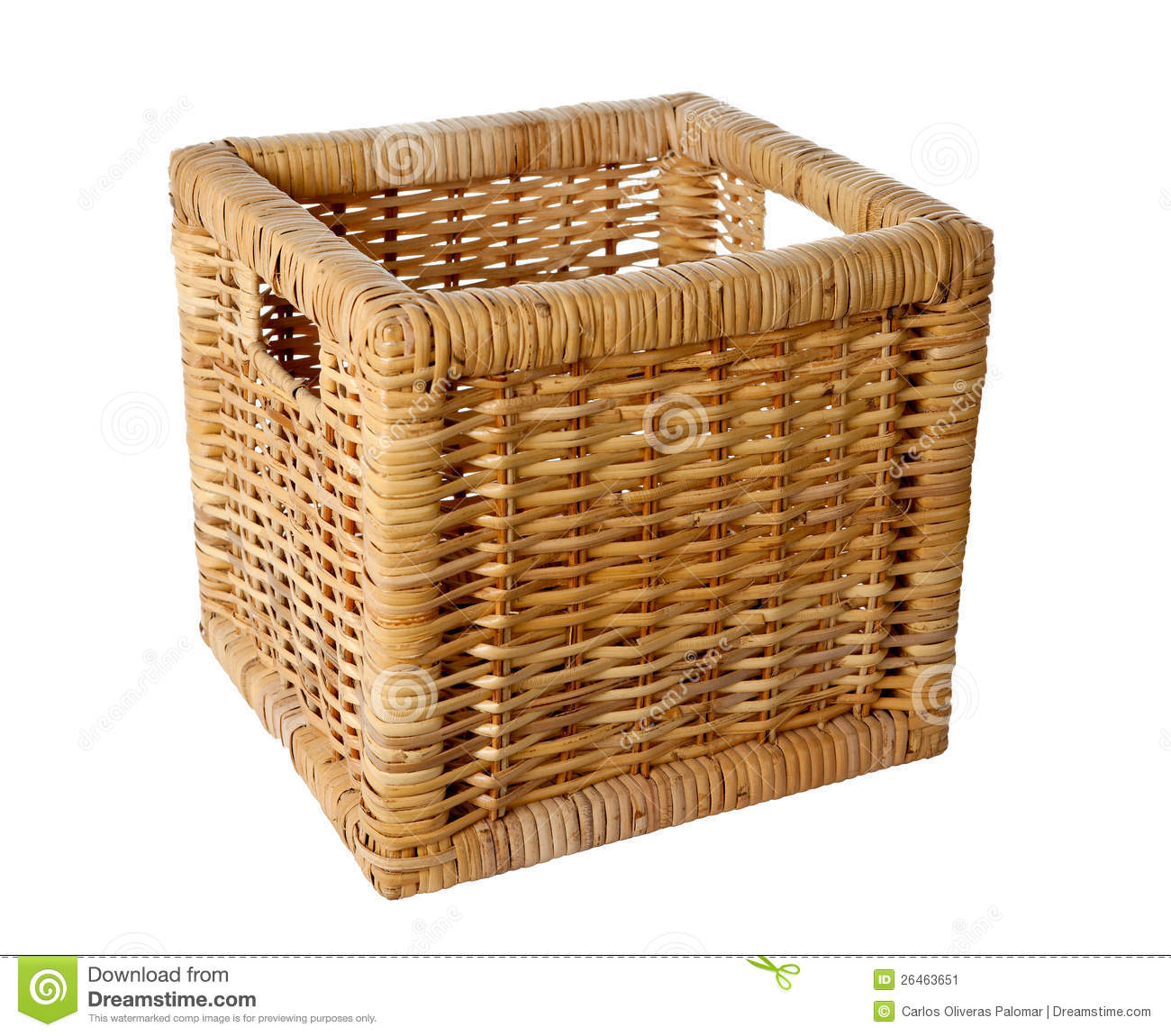 Panier En Osier Wicker : Square wicker basket stock image