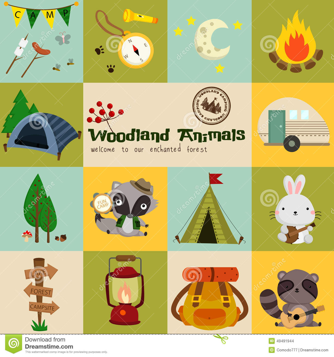 Woodlands Campsite At The Formula 1: Square Woodland Animal Camping Vector Set Stock Vector