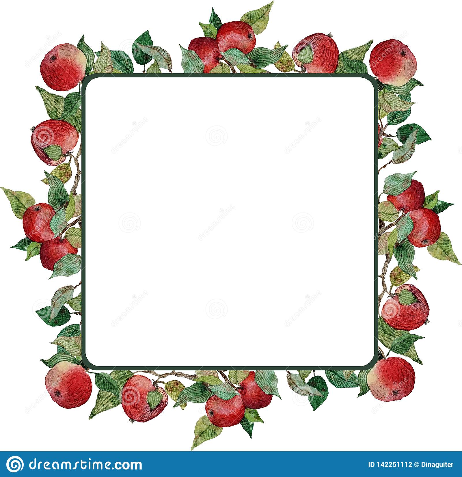 Square wreath red apples leaves branches ornament