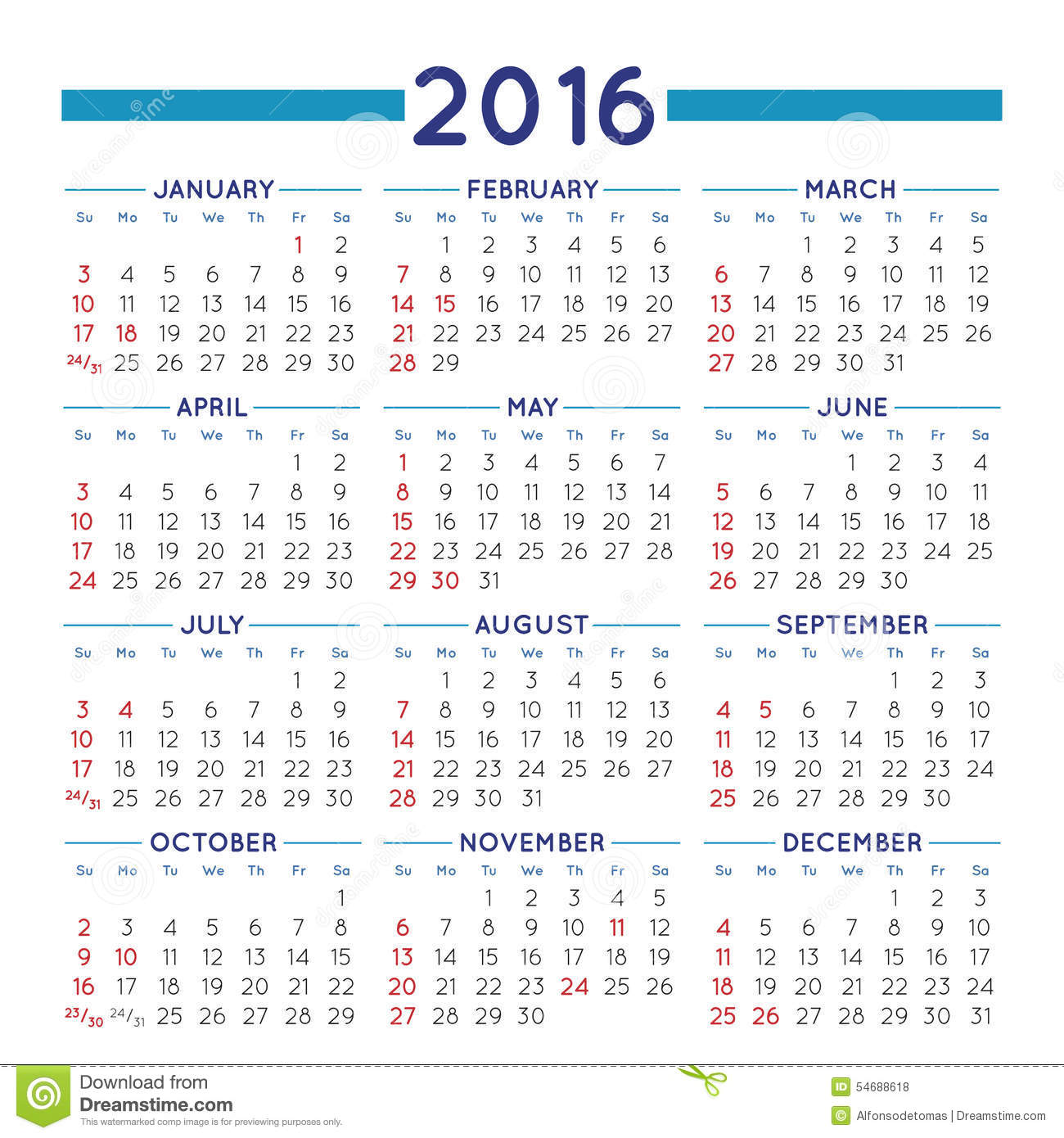 Year Calendar Usa : Squared calendar stock vector image of illustration