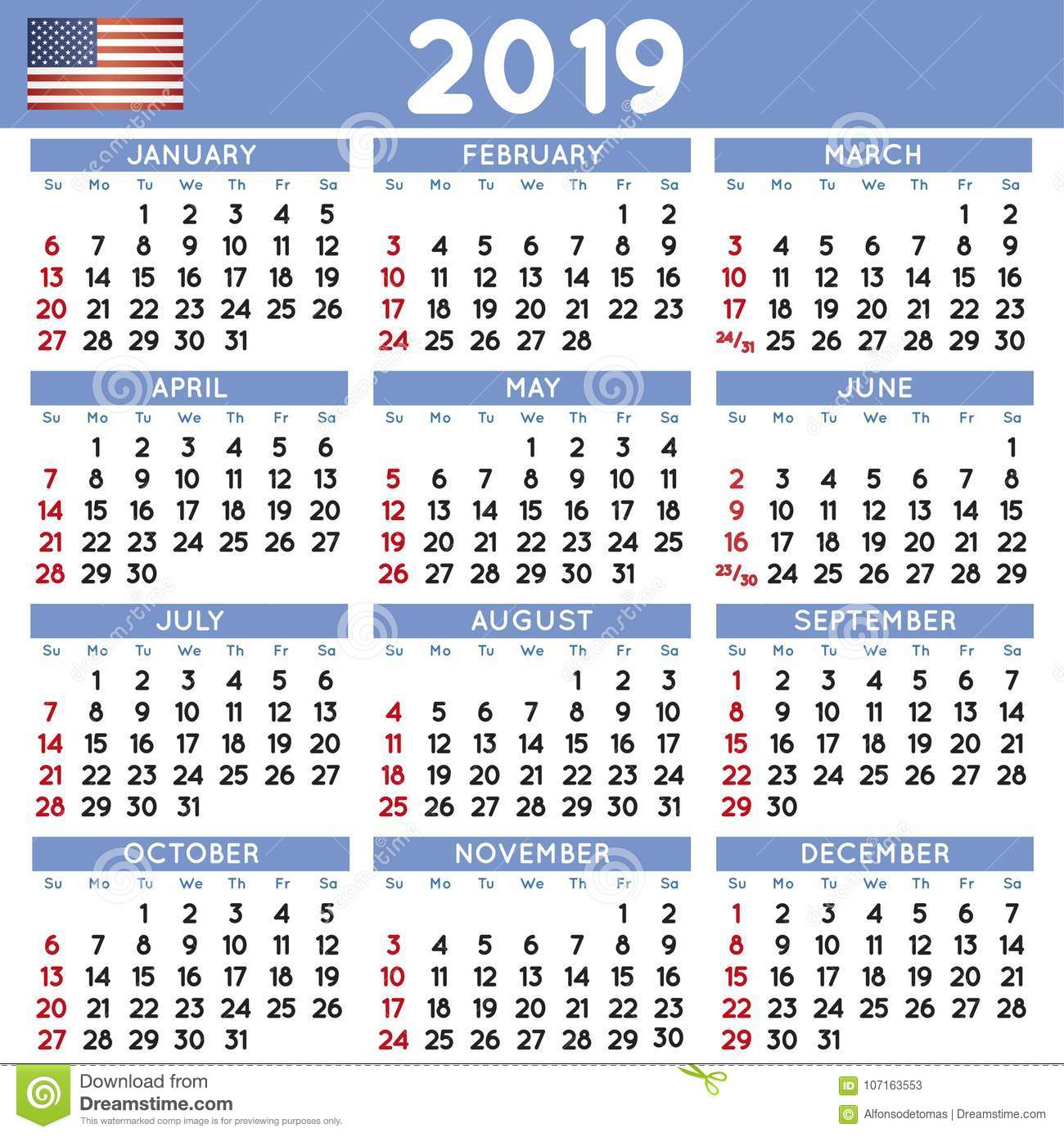 Usa Calendar 2019 2019 Squared Calendar English USA Stock Vector   Illustration of