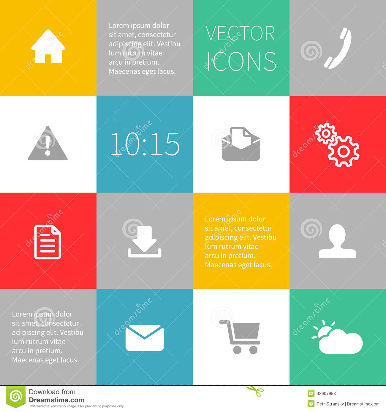 Squares Background Infographics With Vector Icons Stock Vector ...