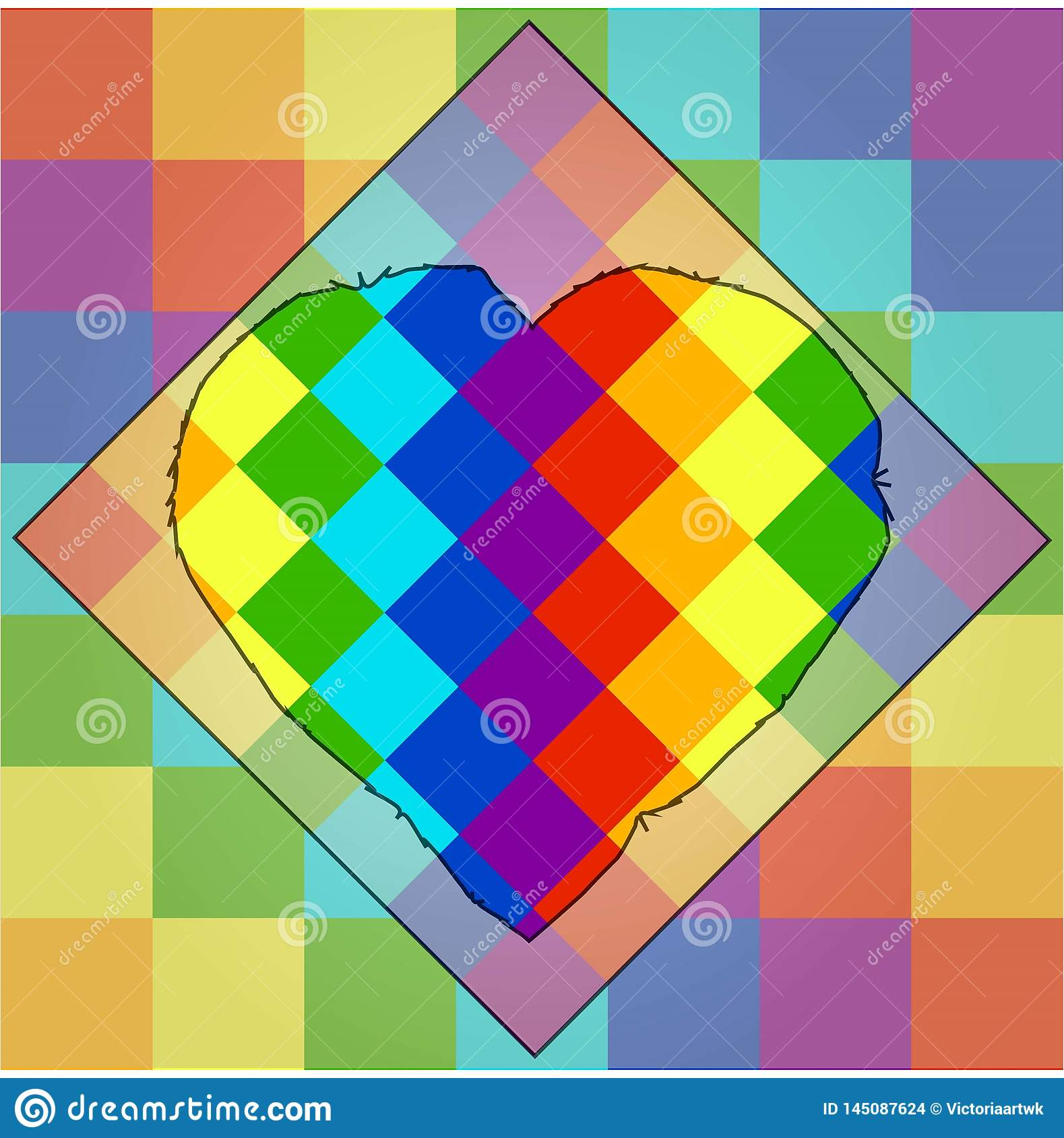 Squares of colors of a rainbow with a unique contour of heart in the middle. lgbt symbolism