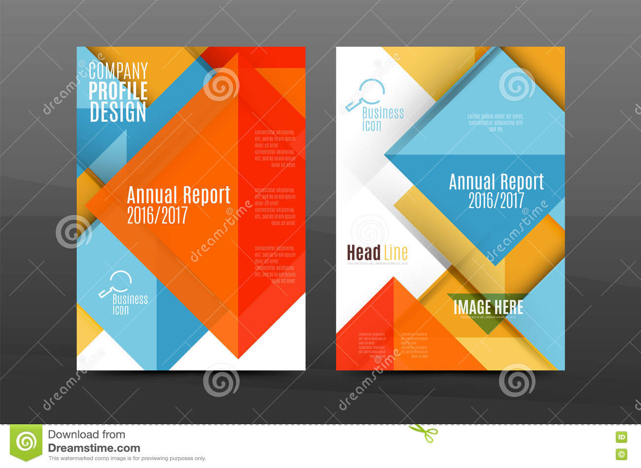 squares and triangles annual report cover template stock vector